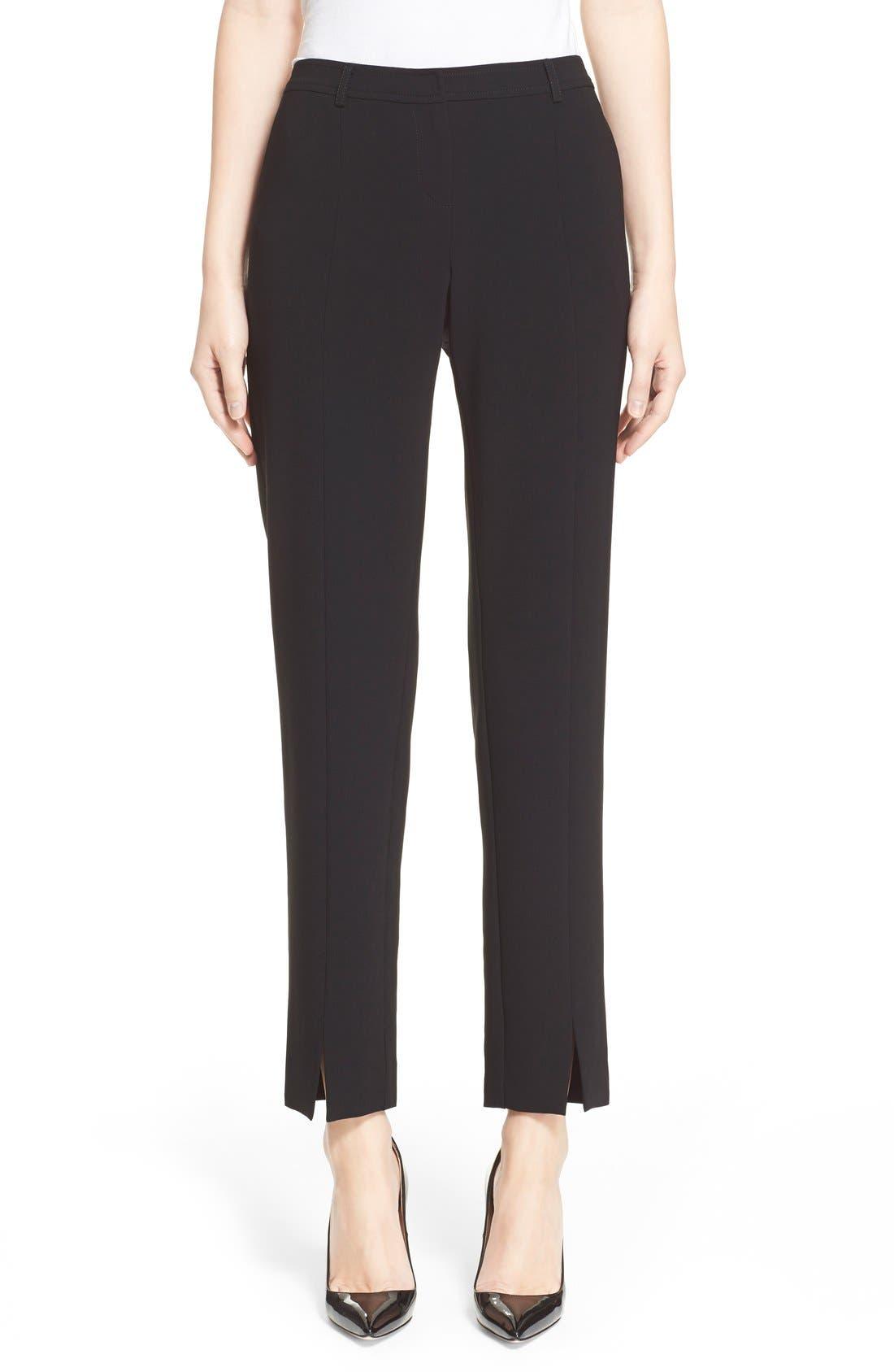 'Jennifer' Crepe Marocain Ankle Pants,                             Main thumbnail 1, color,                             Caviar