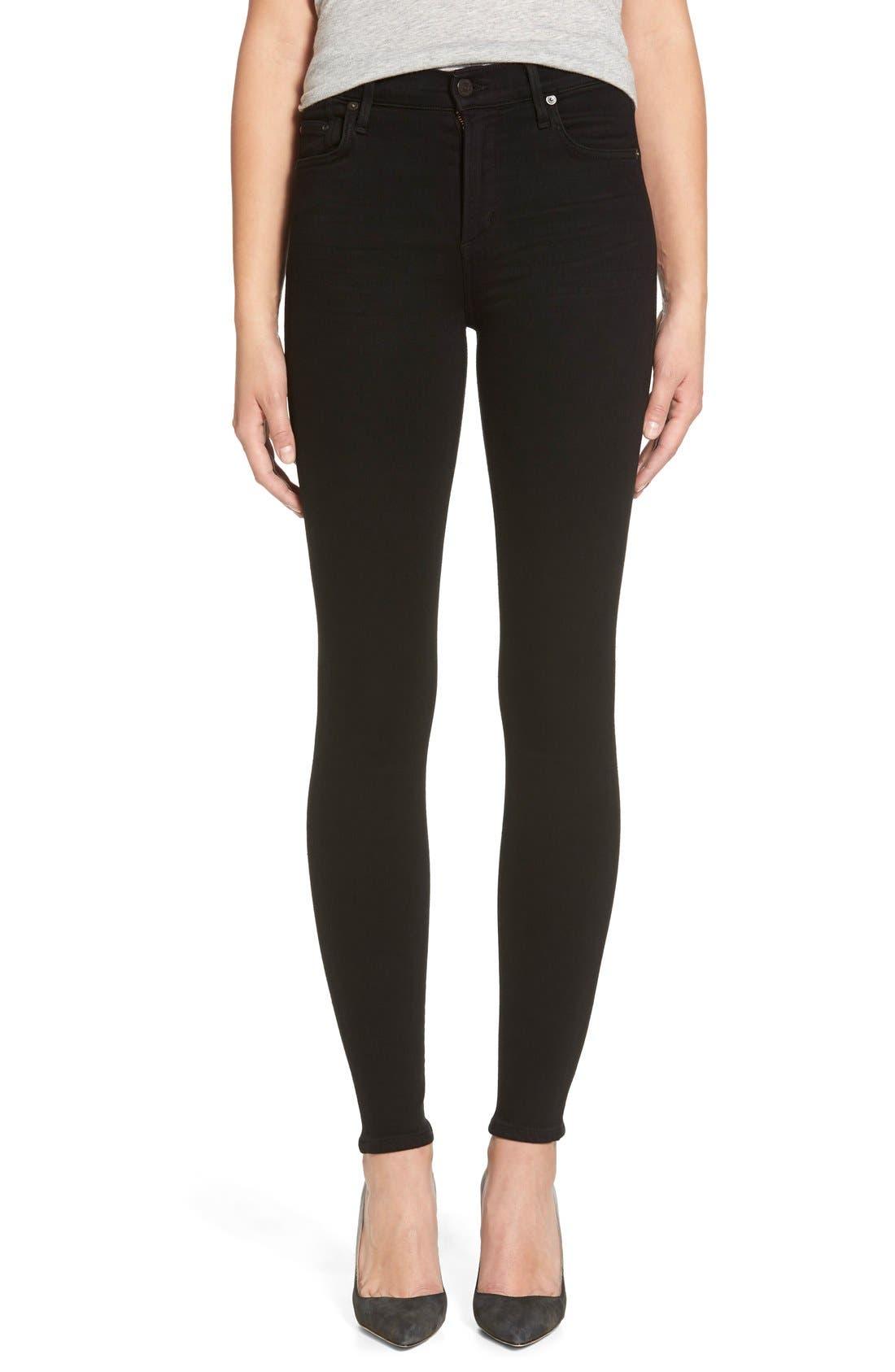 Rocket High Waist Skinny Jeans,                             Main thumbnail 1, color,                             Black