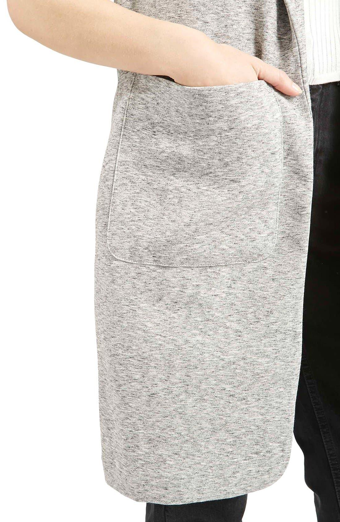 Marled Longline Vest,                             Alternate thumbnail 5, color,                             Light Grey