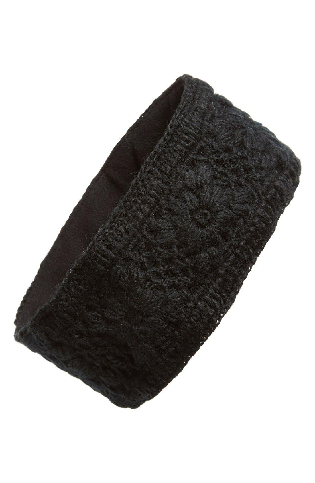 Crochet Ear Warmer Headband,                         Main,                         color, Black