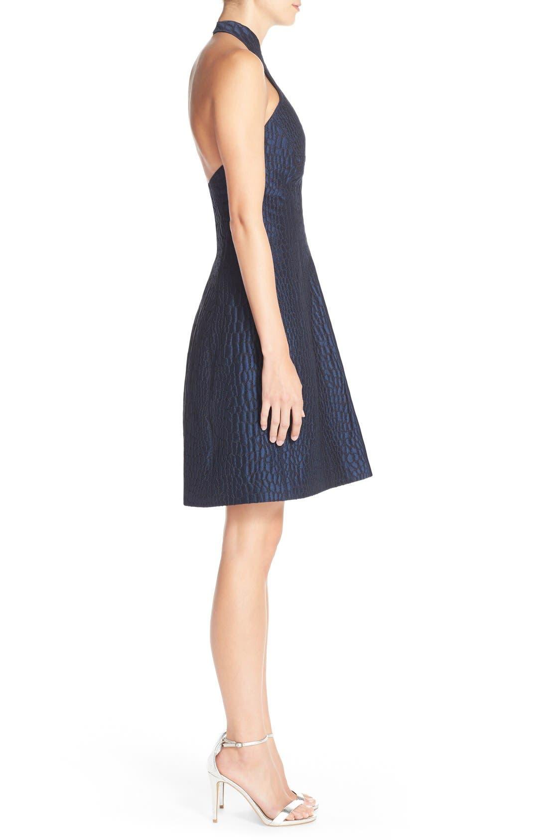 Alternate Image 3  - Halston Heritage Halter Jacquard Fit & Flare Dress