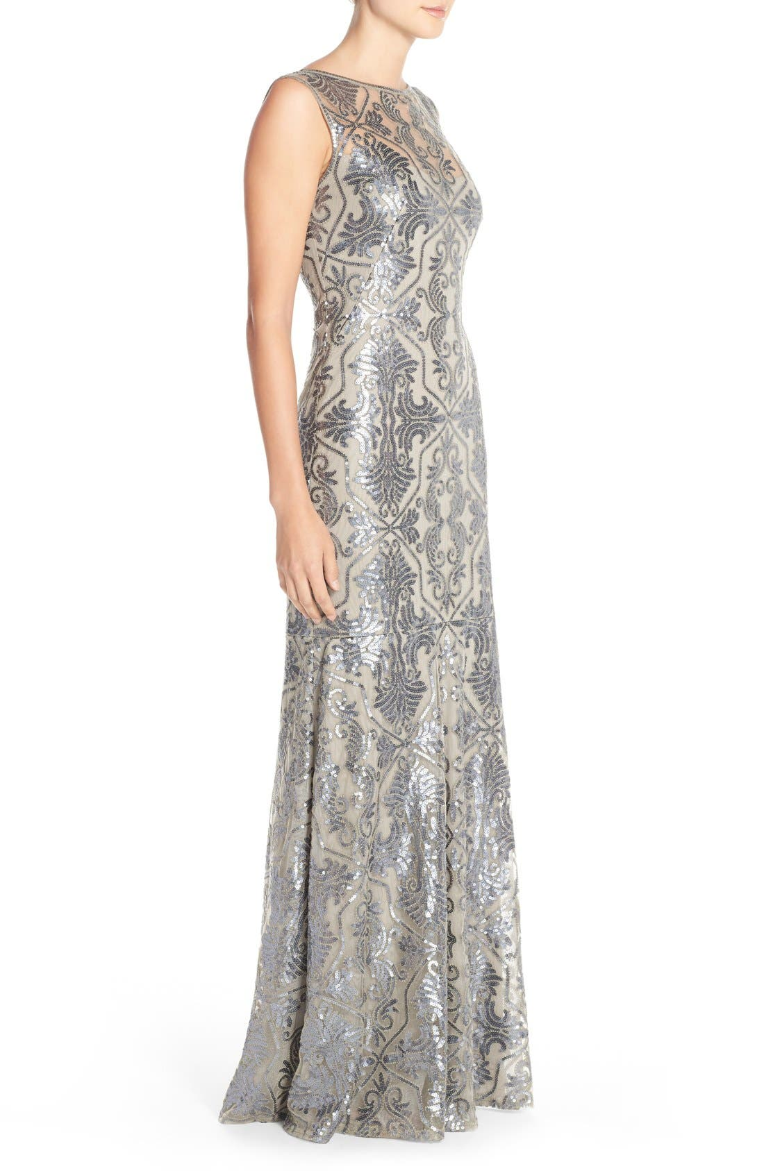 Sequin Tulle Mermaid Gown,                             Alternate thumbnail 3, color,                             Duchess Grey