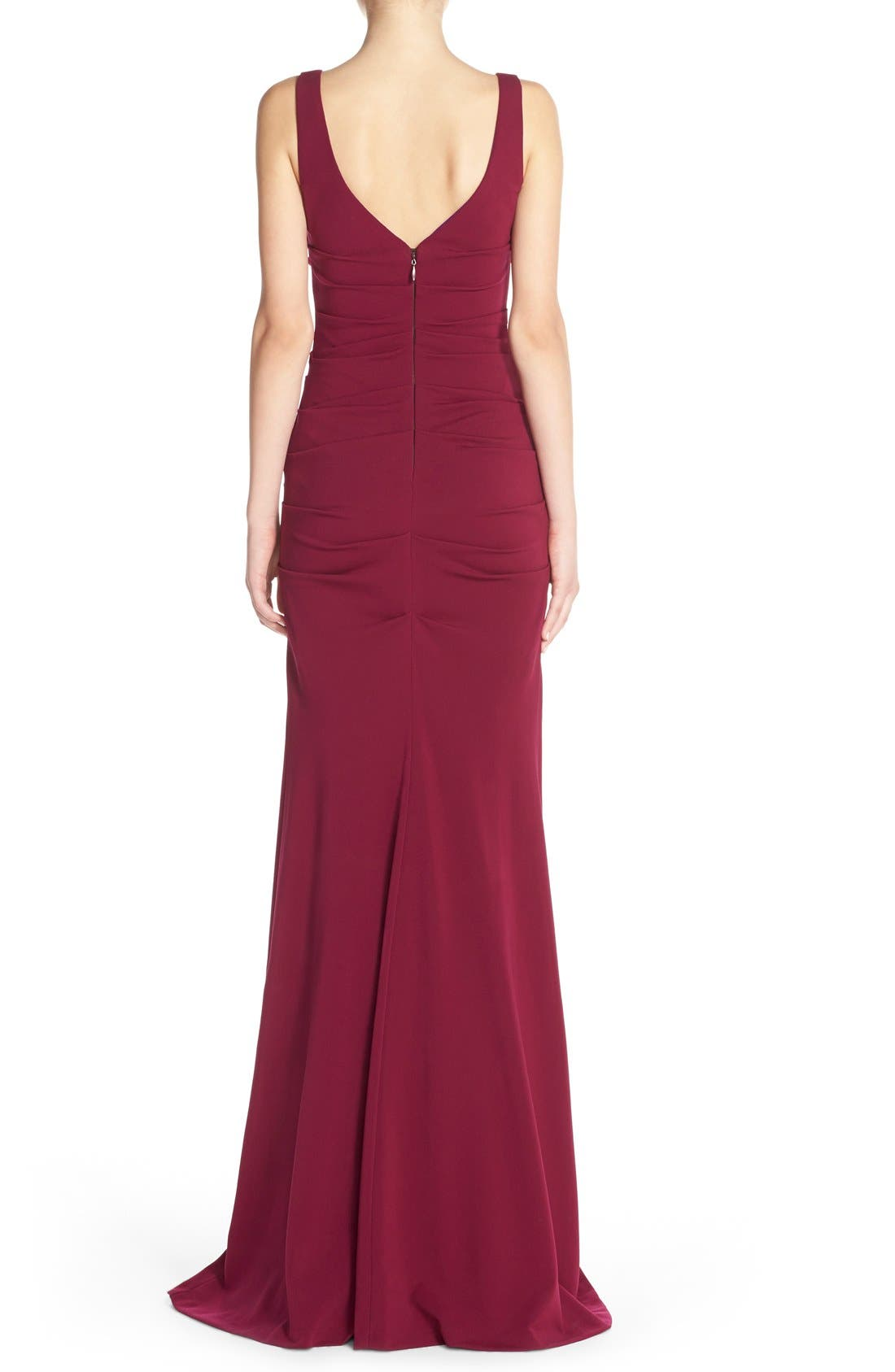 Alternate Image 2  - Nicole Miller Ruched Jersey Gown