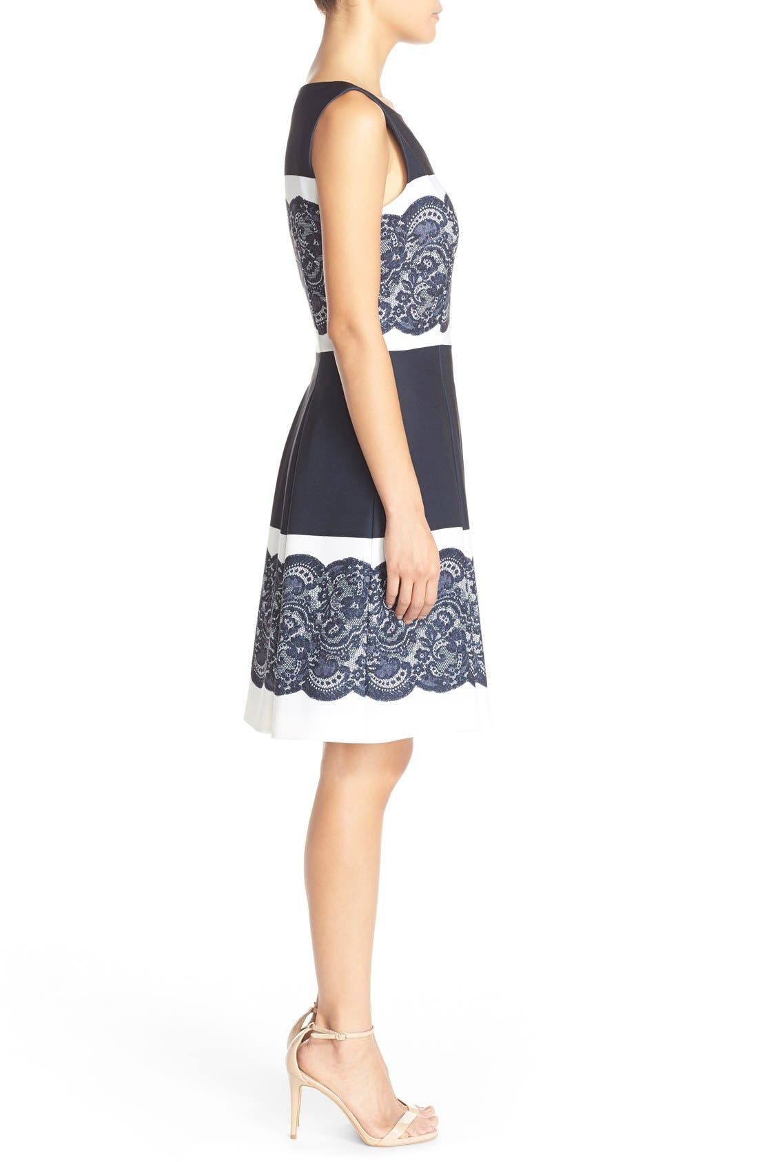 Alternate Image 3  - Tahari Lace Panel Twill Fit & Flare Dress (Regular & Petite)