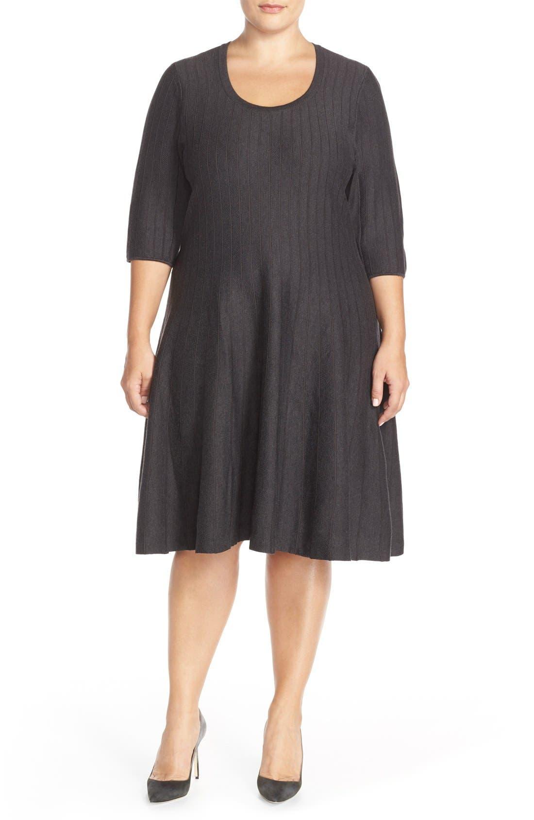 'Twirl' Elbow Sleeve Knit Fit & Flare Dress,                             Main thumbnail 1, color,                             Phantom Heather