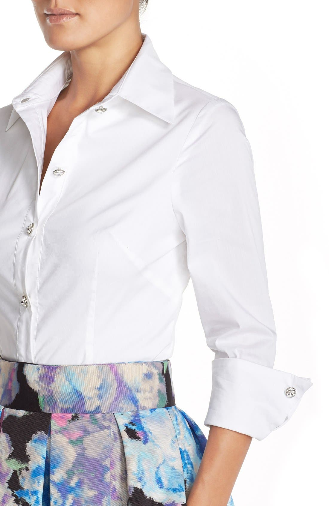 Alternate Image 5  - Eliza J Cotton Poplin Blouse