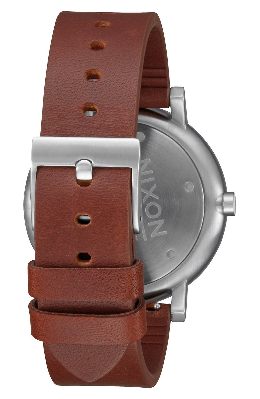 'Rollo' Leather Strap Watch, 42mm,                             Alternate thumbnail 2, color,                             Chestnut/ White