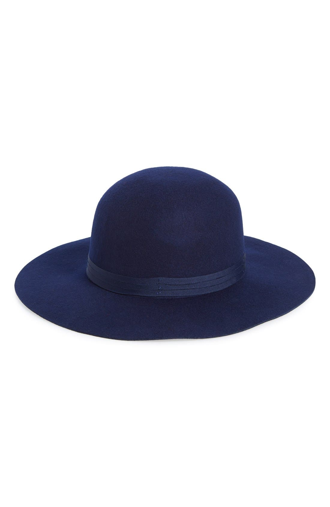 'Magdalena' Wide Brim Wool Felt Hat,                         Main,                         color, Navy