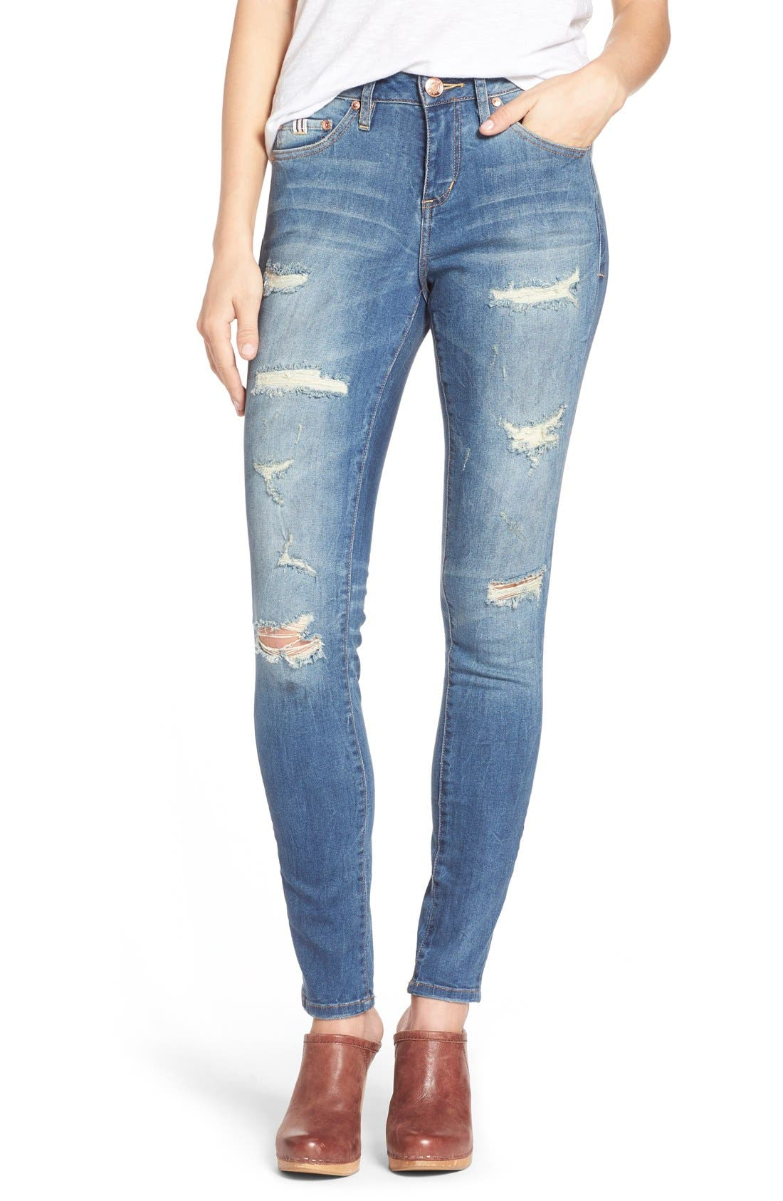 Jag Jeans Sheridan Distressed Skinny Jeans (Blue Carbon) (Regular & Petite)