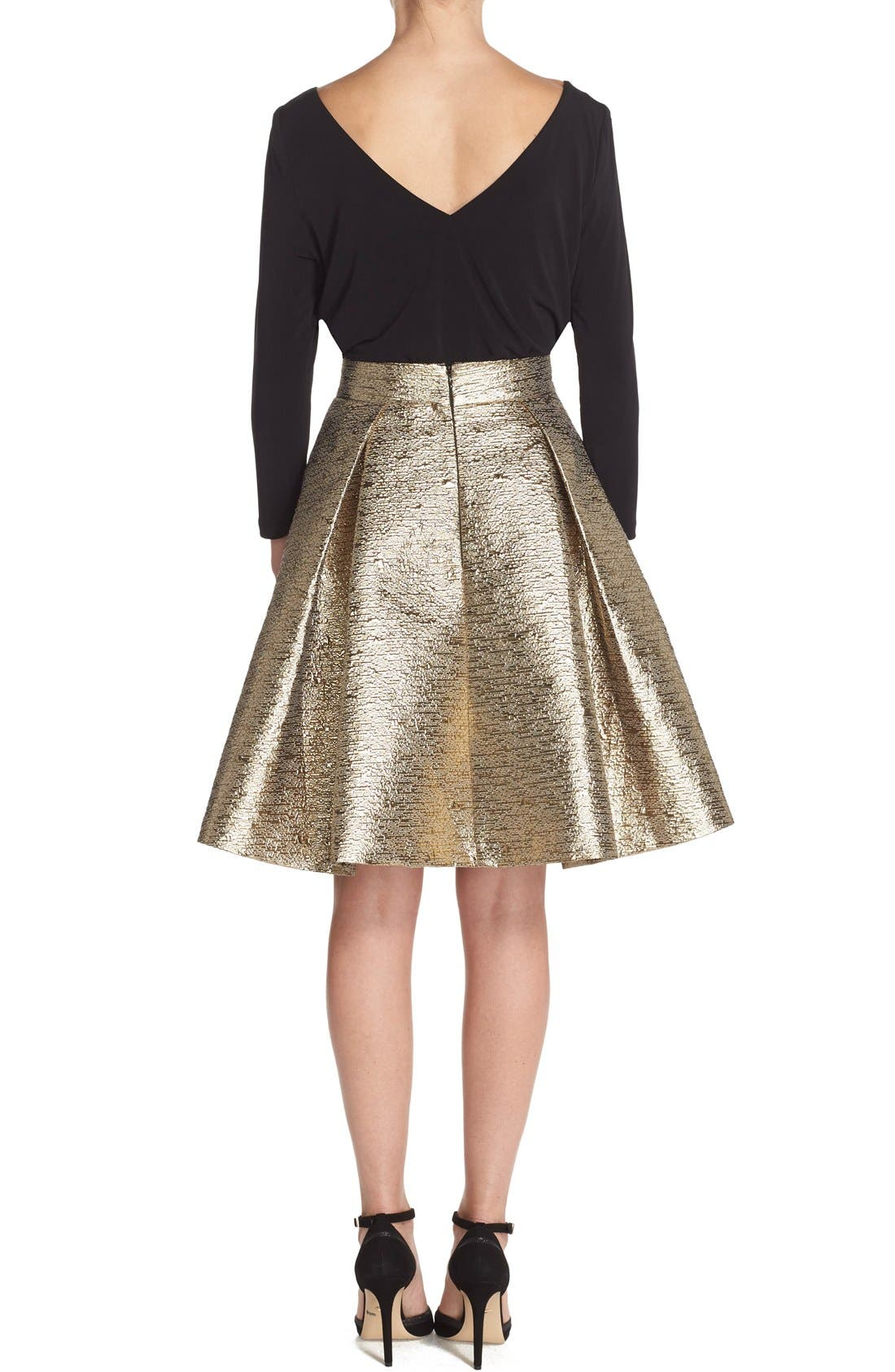 Alternate Image 4  - Eliza J Metallic Jacquard Flared Skirt