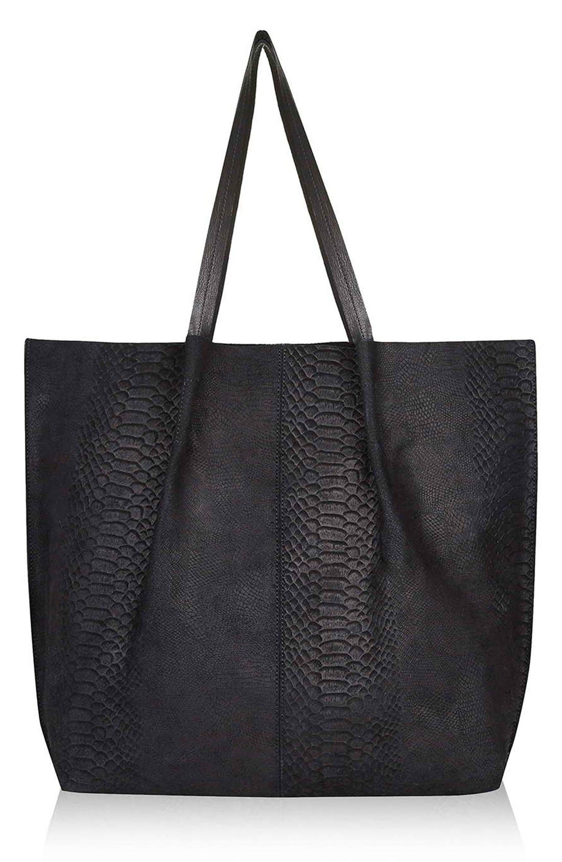 Embossed Suede Shopper,                             Main thumbnail 1, color,                             Black