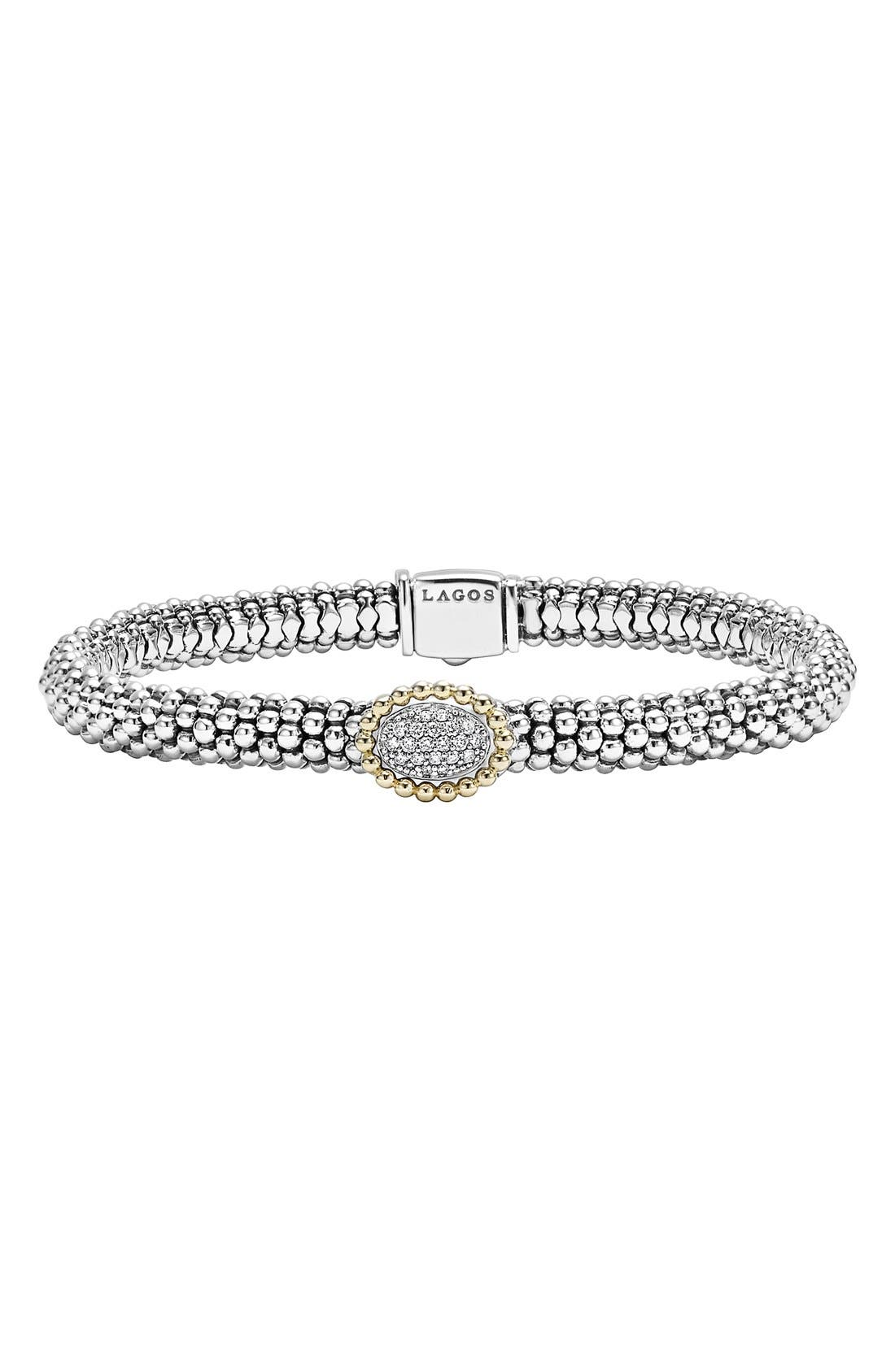 Diamond Caviar Oval Bracelet,                         Main,                         color, Silver/ Gold
