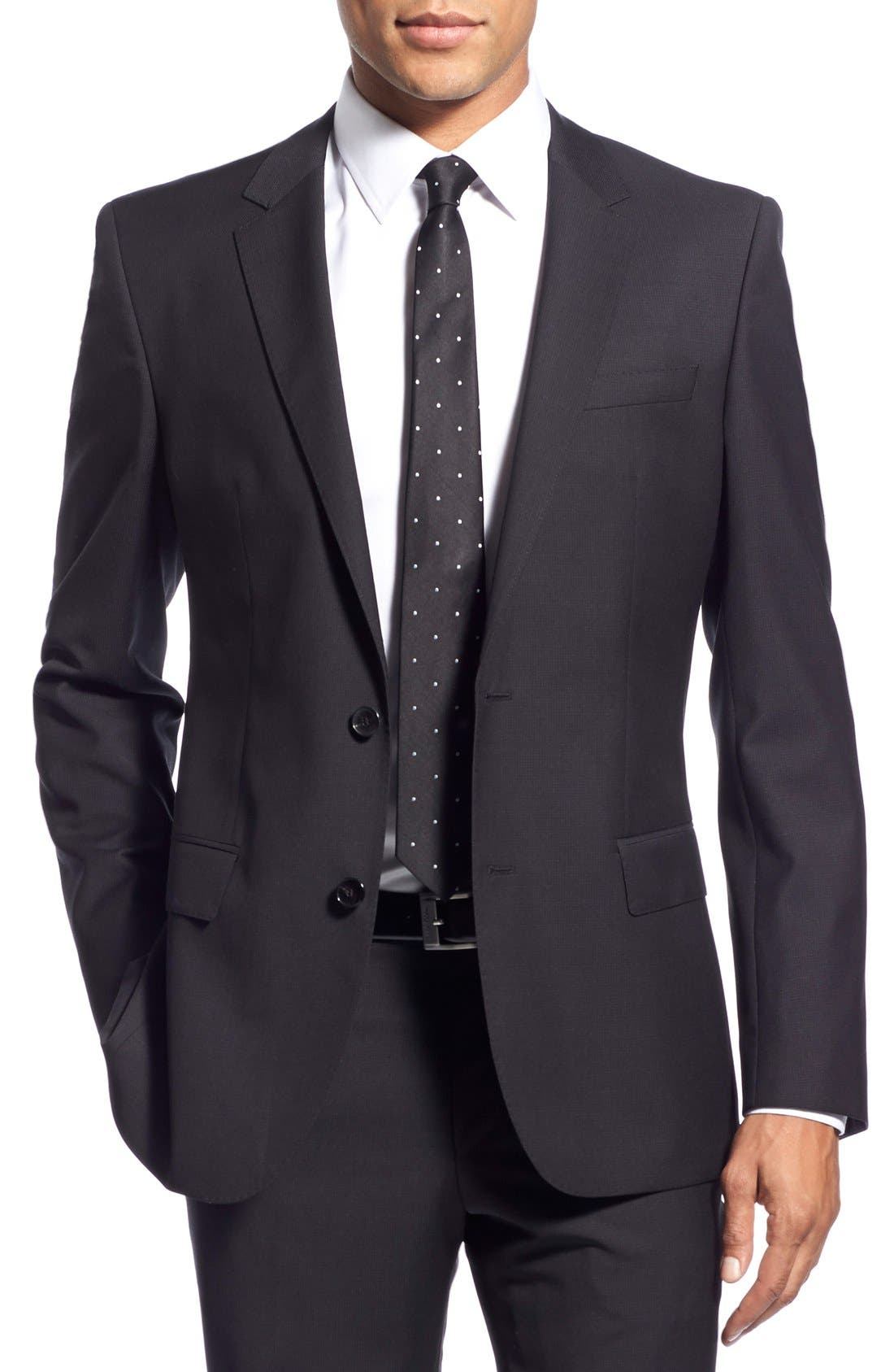 Alternate Image 6  - BOSS 'Huge/Genius' Trim Fit Solid Wool Suit