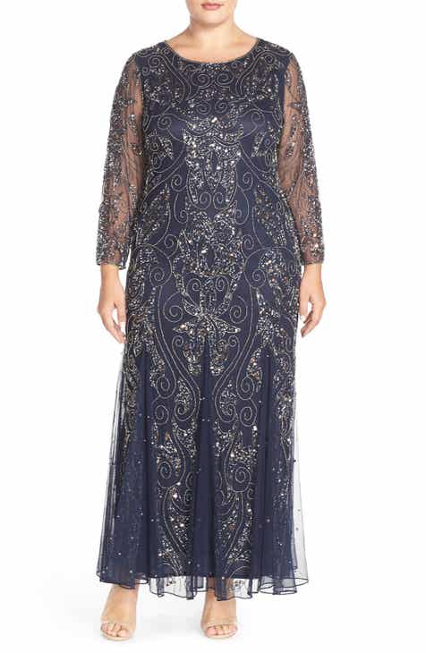9818f00acf4db Pisarro Nights Embellished Three Quarter Sleeve Gown (Plus Size)