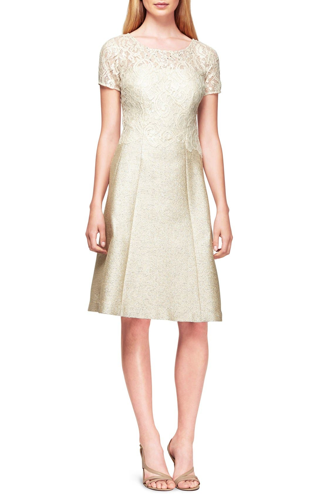 Lace Jacquard Fit & Flare Dress,                         Main,                         color, Cream