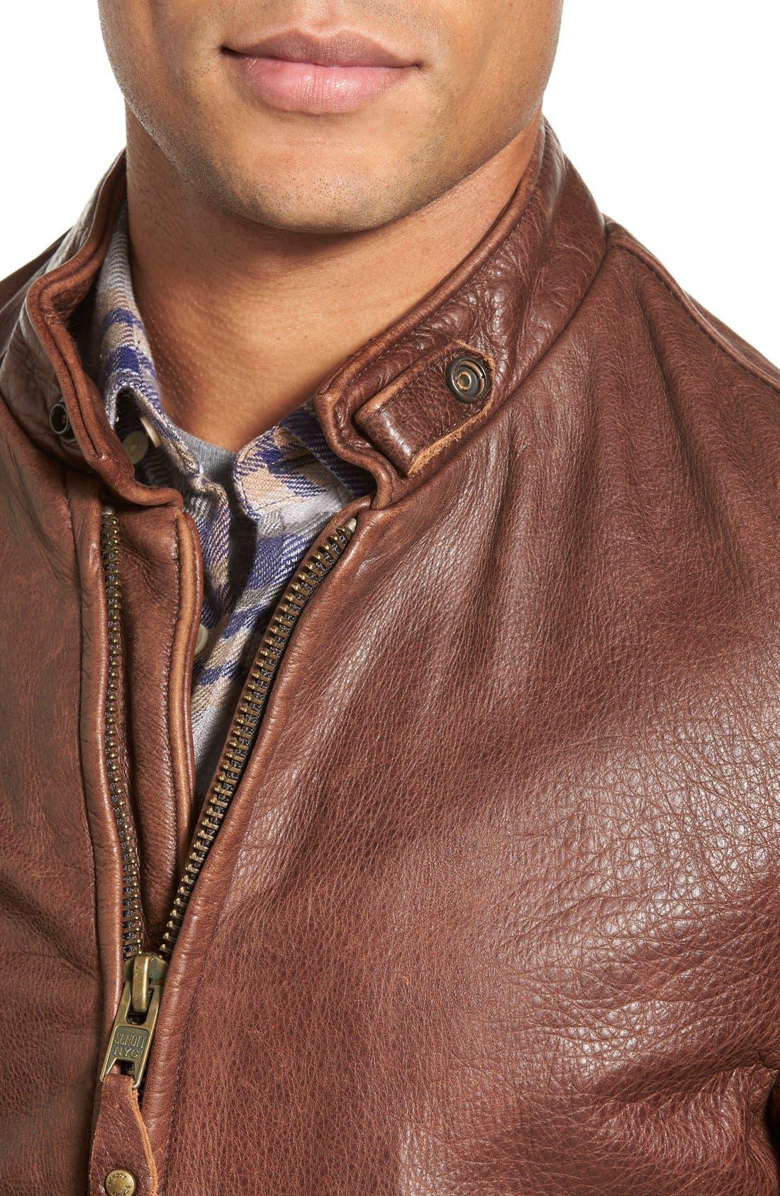 Alternate Image 4  - Schott NYC Café Racer Slim Fit Leather Jacket