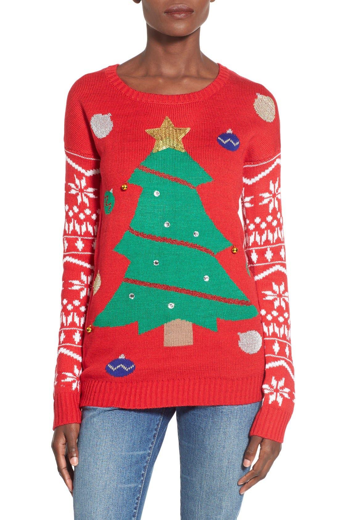 Alternate Image 1 Selected - Derek Heart Tree Ornament Christmas Sweater