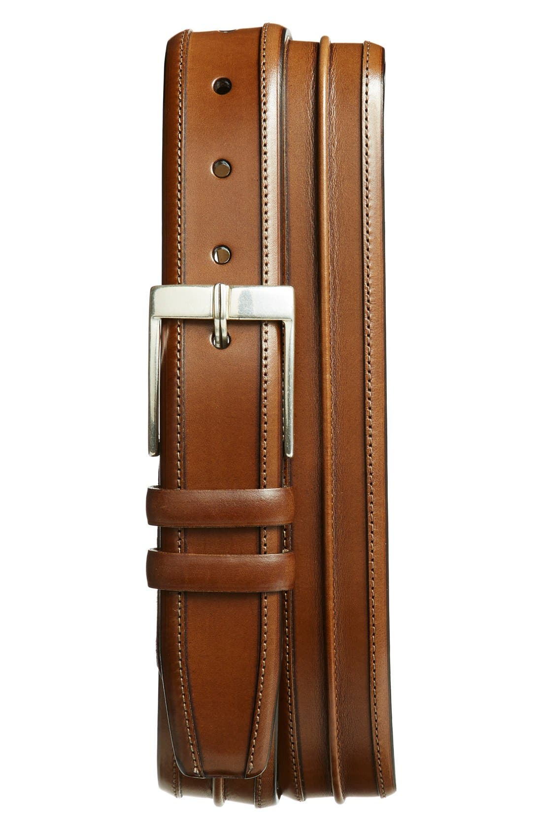 'Parma' Leather Belt,                             Main thumbnail 1, color,                             Tan
