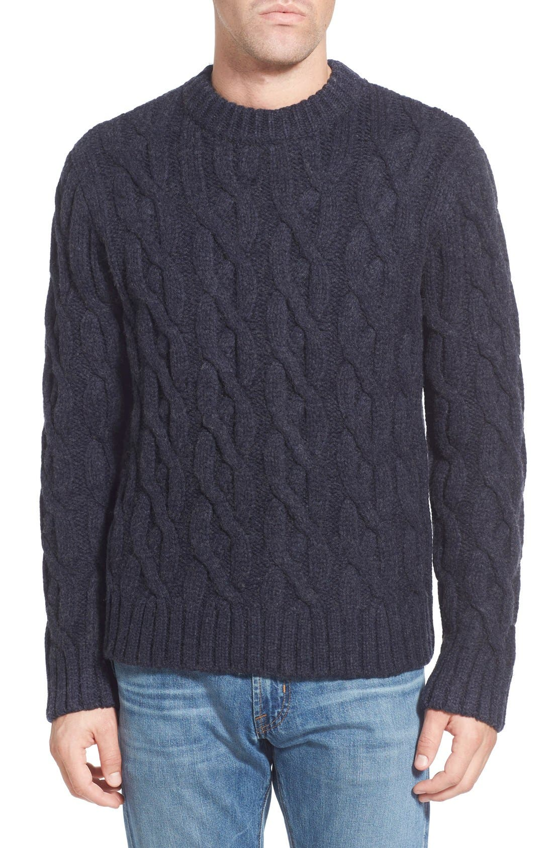 Regular Fit Cable Knit Crewneck Wool Blend Sweater,                             Main thumbnail 1, color,                             Navy