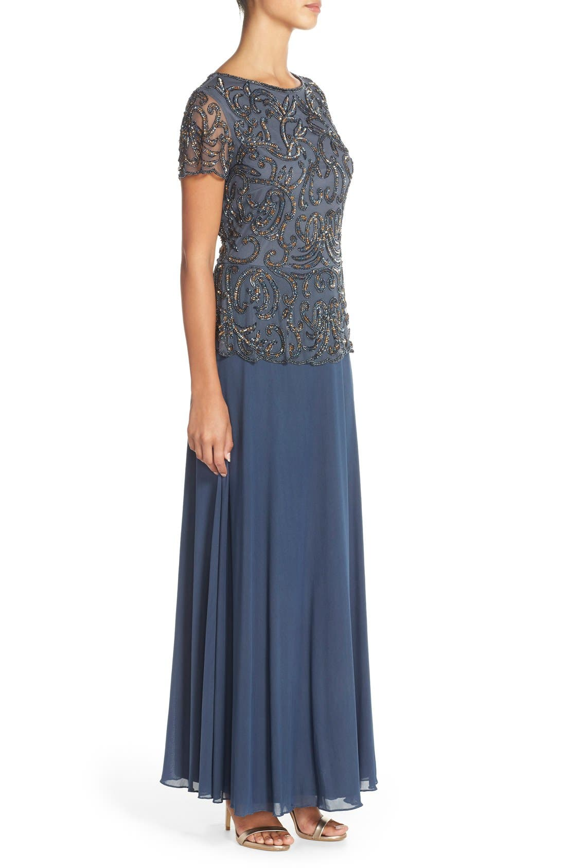 Embellished Mesh & Chiffon Gown,                             Alternate thumbnail 3, color,                             Grey