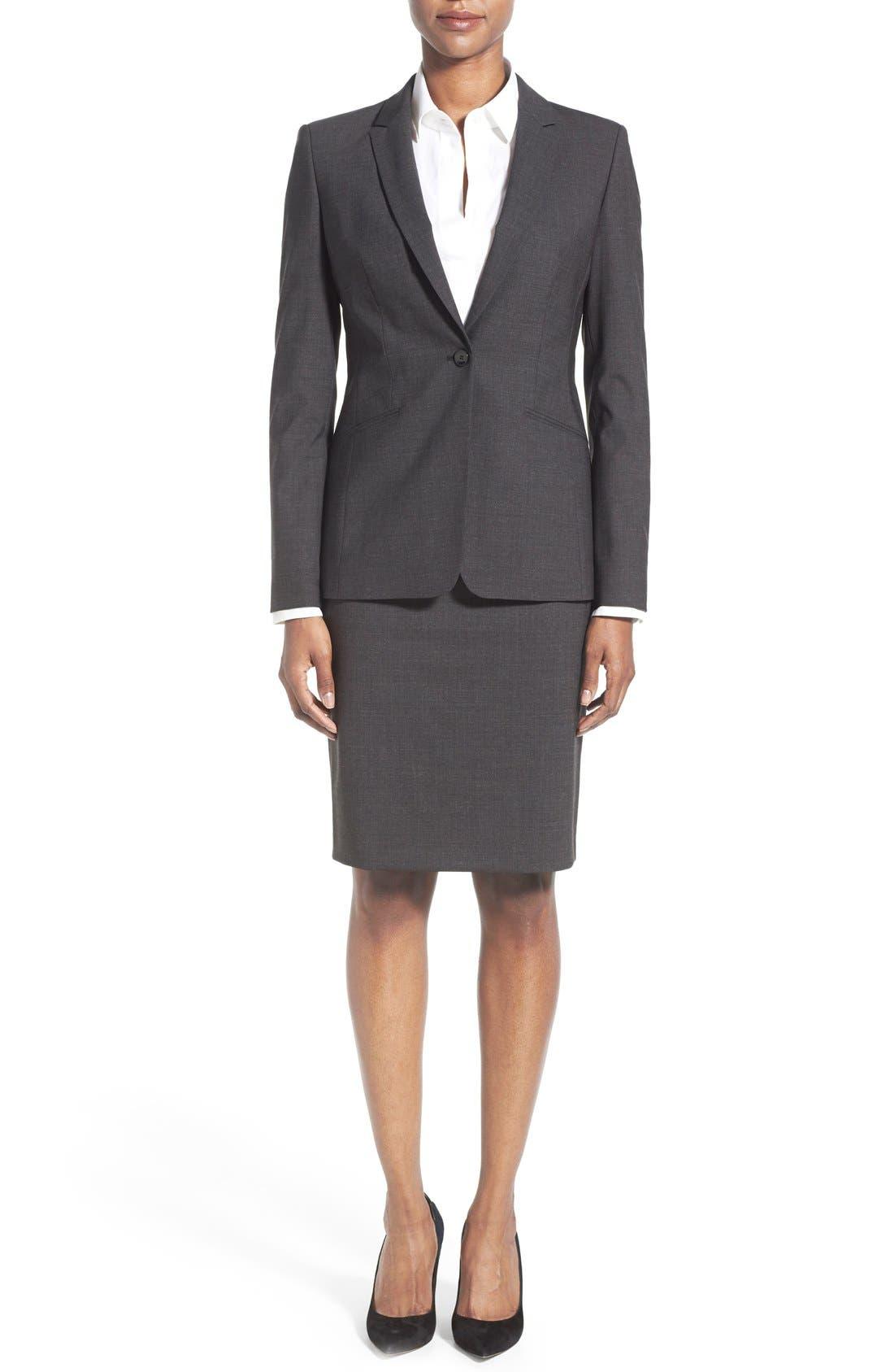 Alternate Image 3  - BOSS Vilea Stretch Wool Pencil Skirt (Regular & Petite)