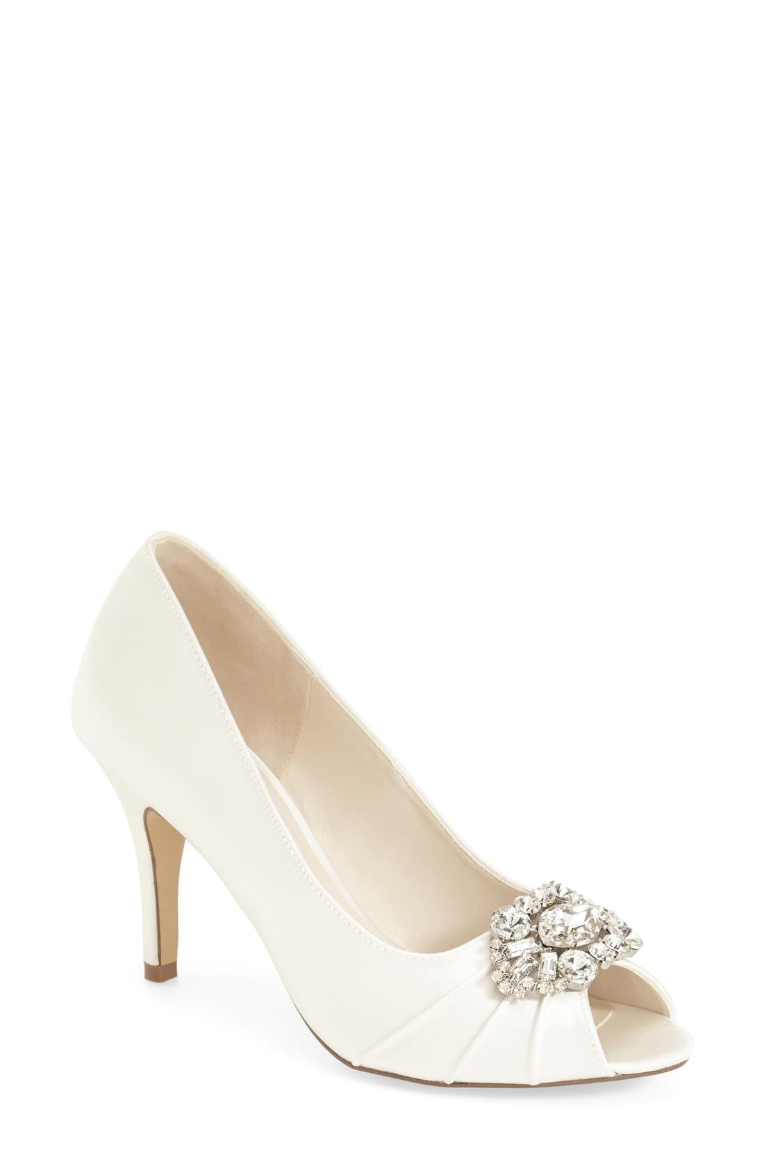 'Tender' Open Toe Pump,                         Main,                         color, Ivory Satin