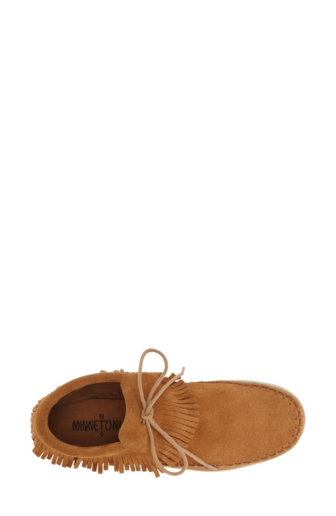 'Venice' Fringe Moccasin Bootie,                             Alternate thumbnail 3, color,                             Taupe Suede