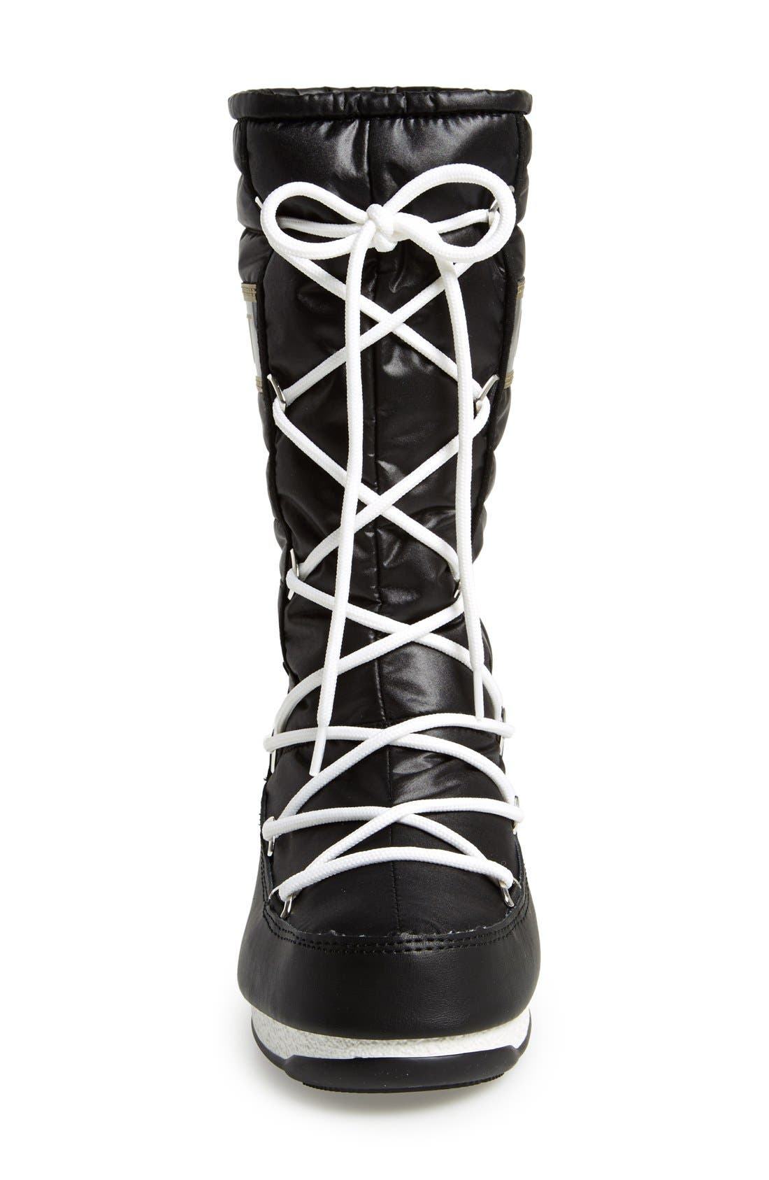 Quilted Waterproof Insulated Moon Boot<sup>®</sup>,                             Alternate thumbnail 3, color,                             Black/ Gold