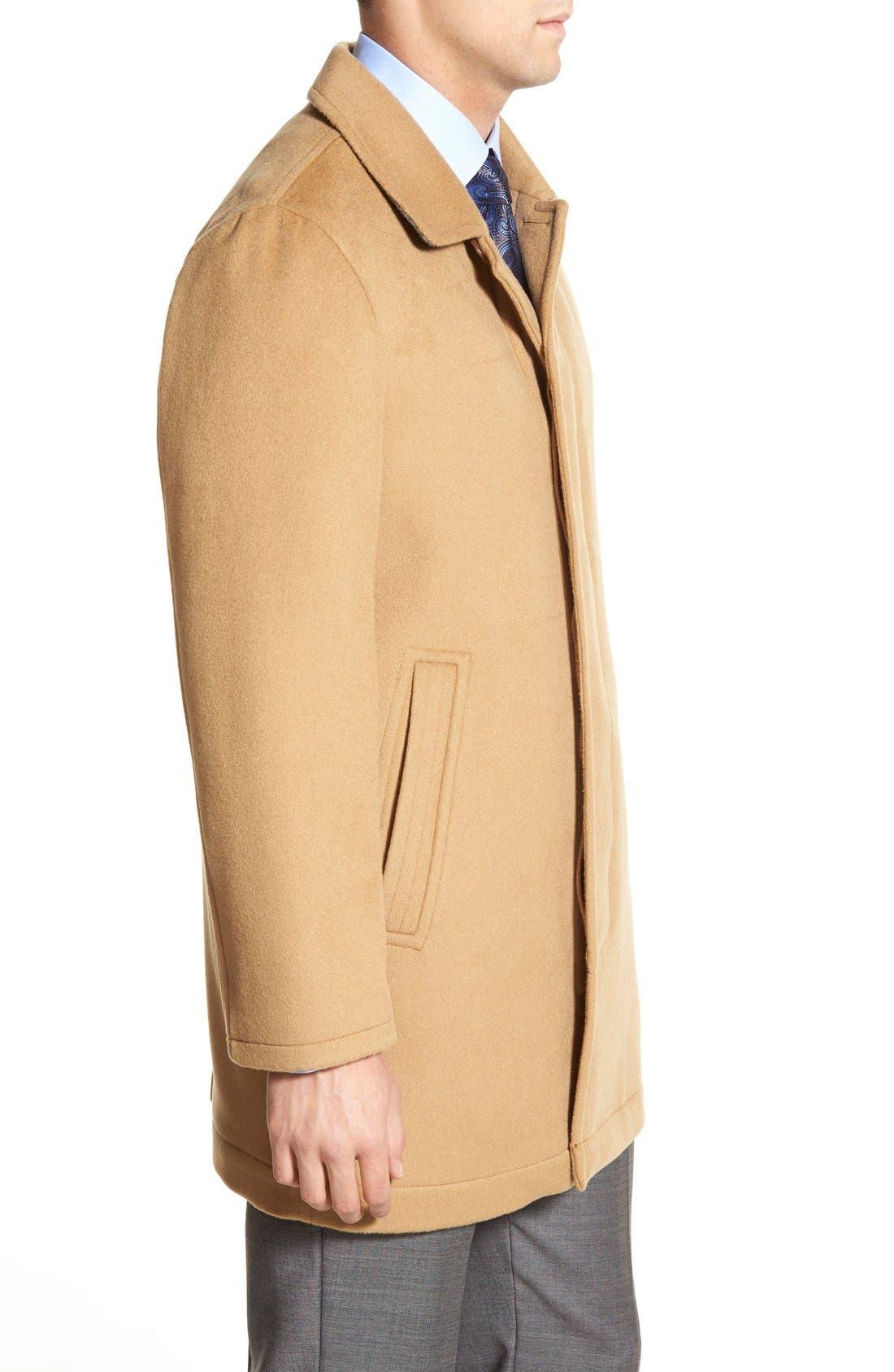 Douglas Modern Fit Wool & Cashmere Overcoat,                             Alternate thumbnail 3, color,                             Camel