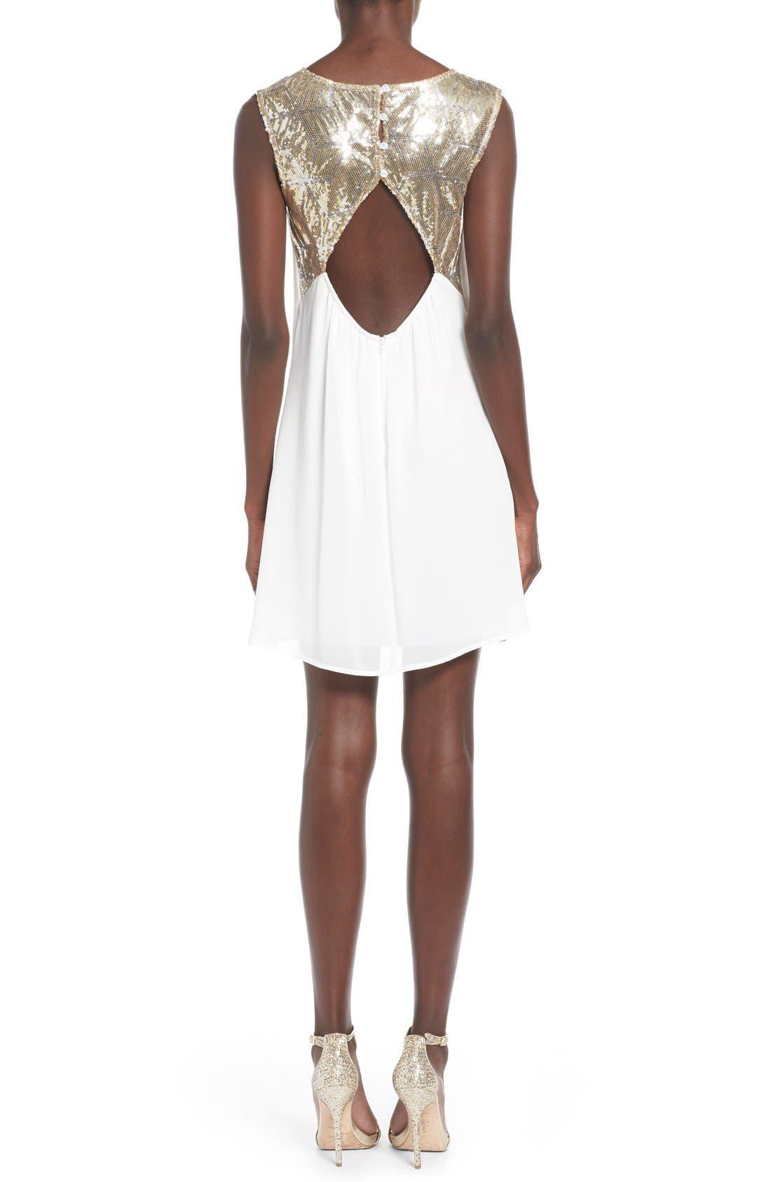 Alternate Image 2  - Sequin Hearts Sequin Yoke Cutout Shift Dress