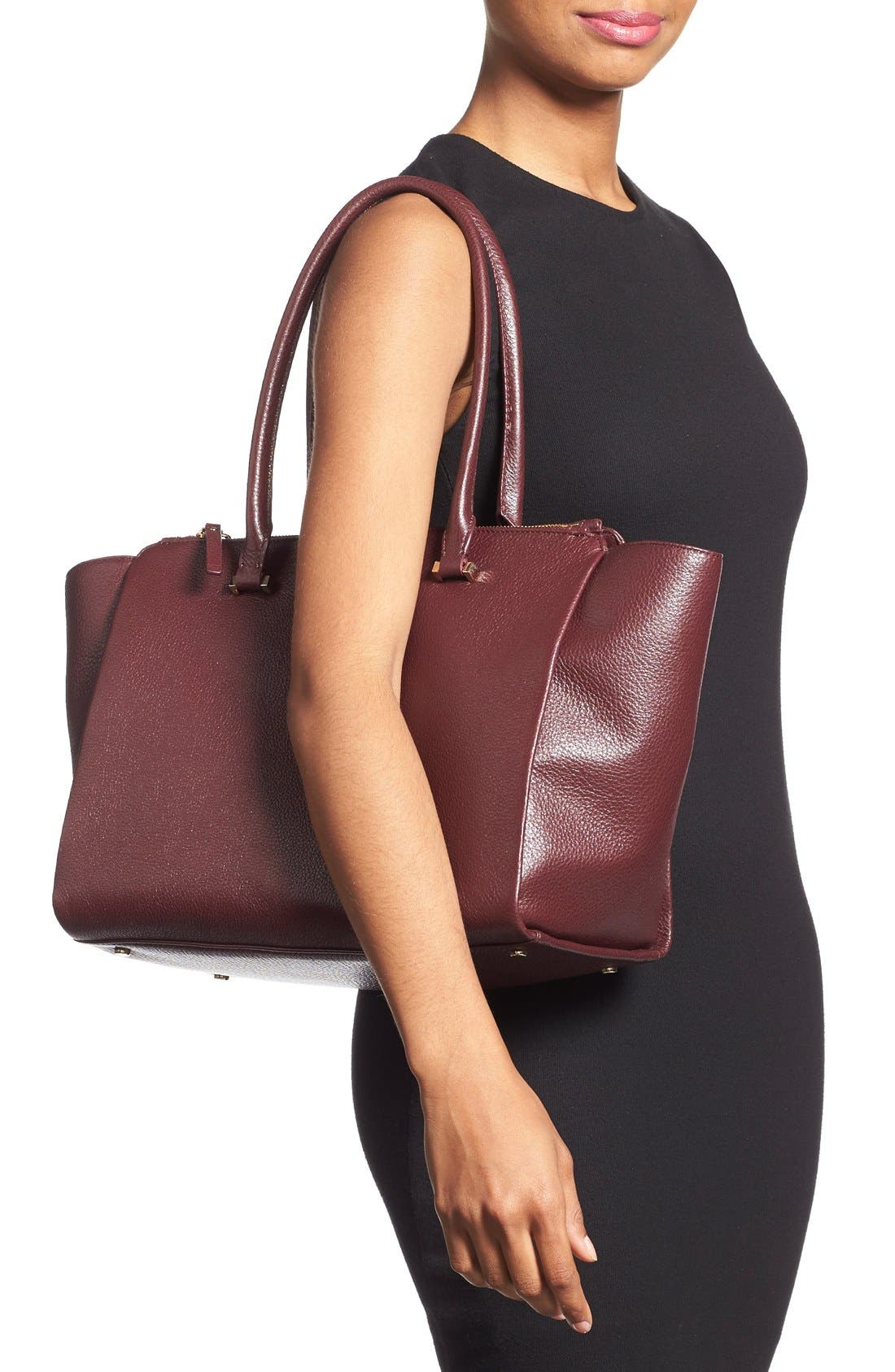 'emerson place - smooth holland' leather tote,                             Alternate thumbnail 2, color,                             Mulled Wine