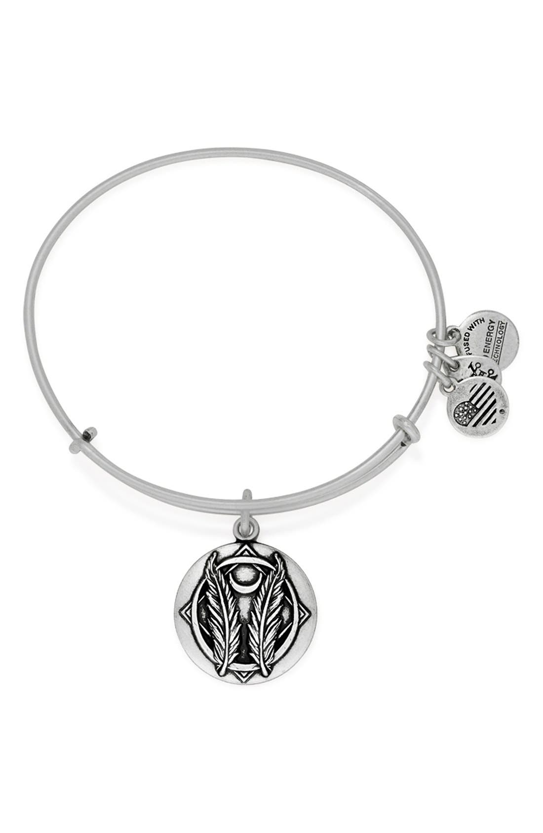 'Godspeed' Expandable Wire Bangle,                             Main thumbnail 1, color,                             Silver