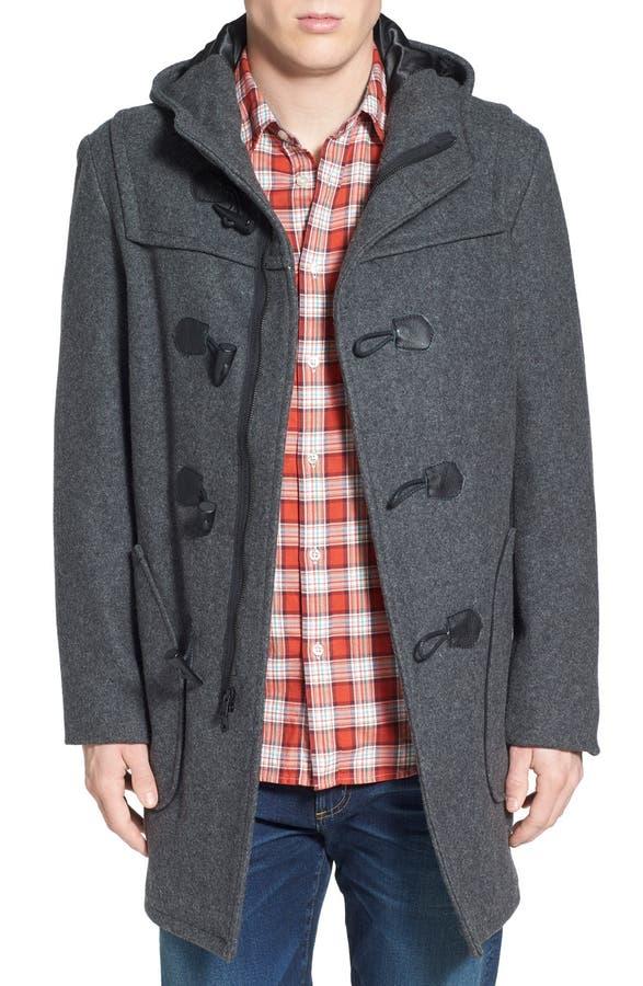 Schott NYC Satin Lined Wool Blend Duffle Coat   Nordstrom