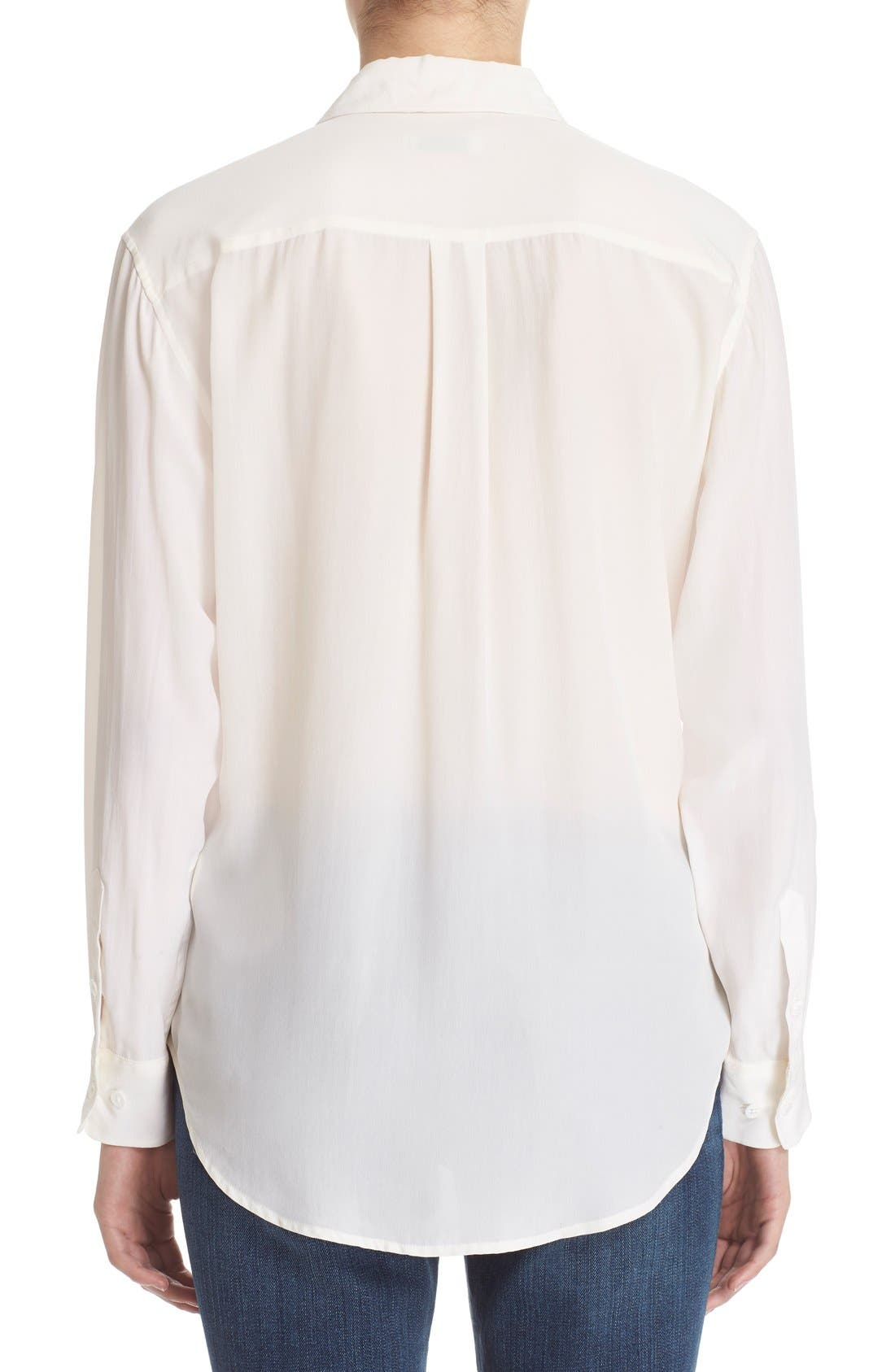 'Signature' Silk Shirt,                             Alternate thumbnail 2, color,                             Bright White