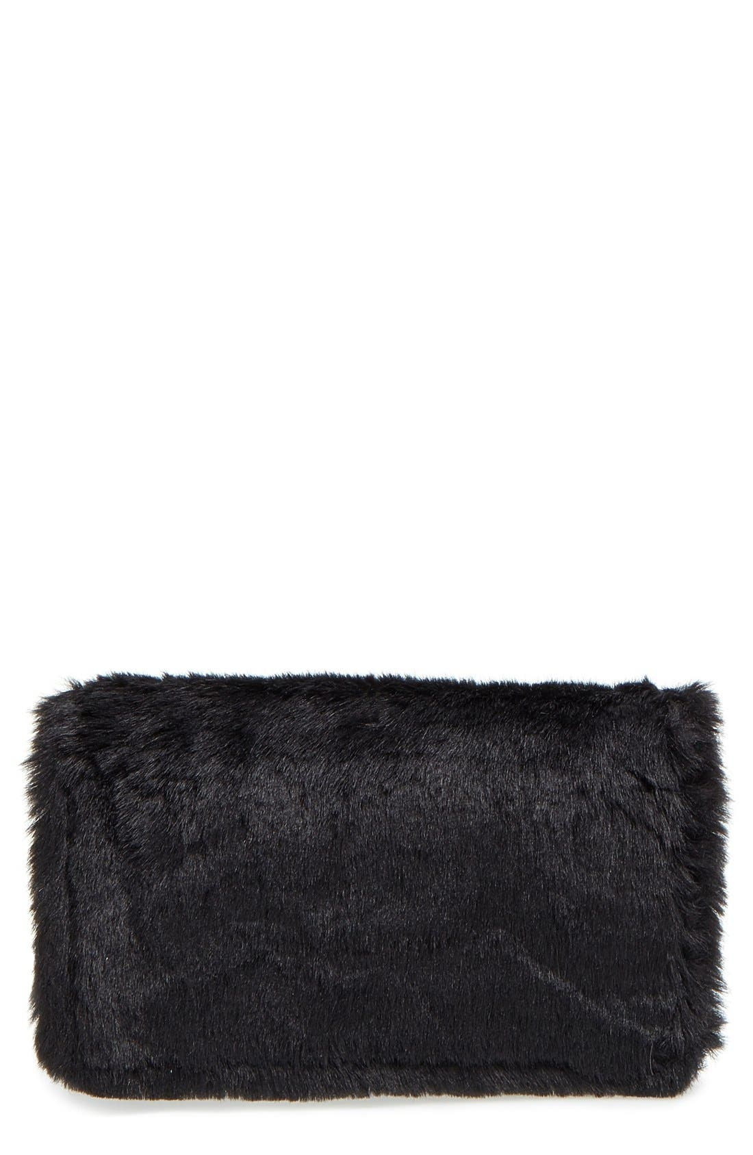 Alternate Image 1 Selected - OMG Faux Fur Flap Crossbody Clutch