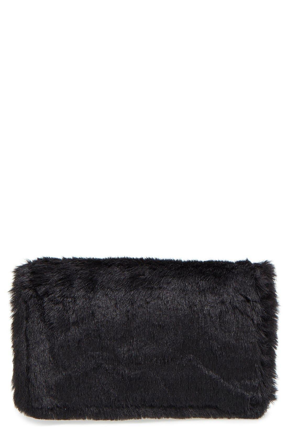 Faux Fur Flap Crossbody Clutch,                             Main thumbnail 1, color,                             Black