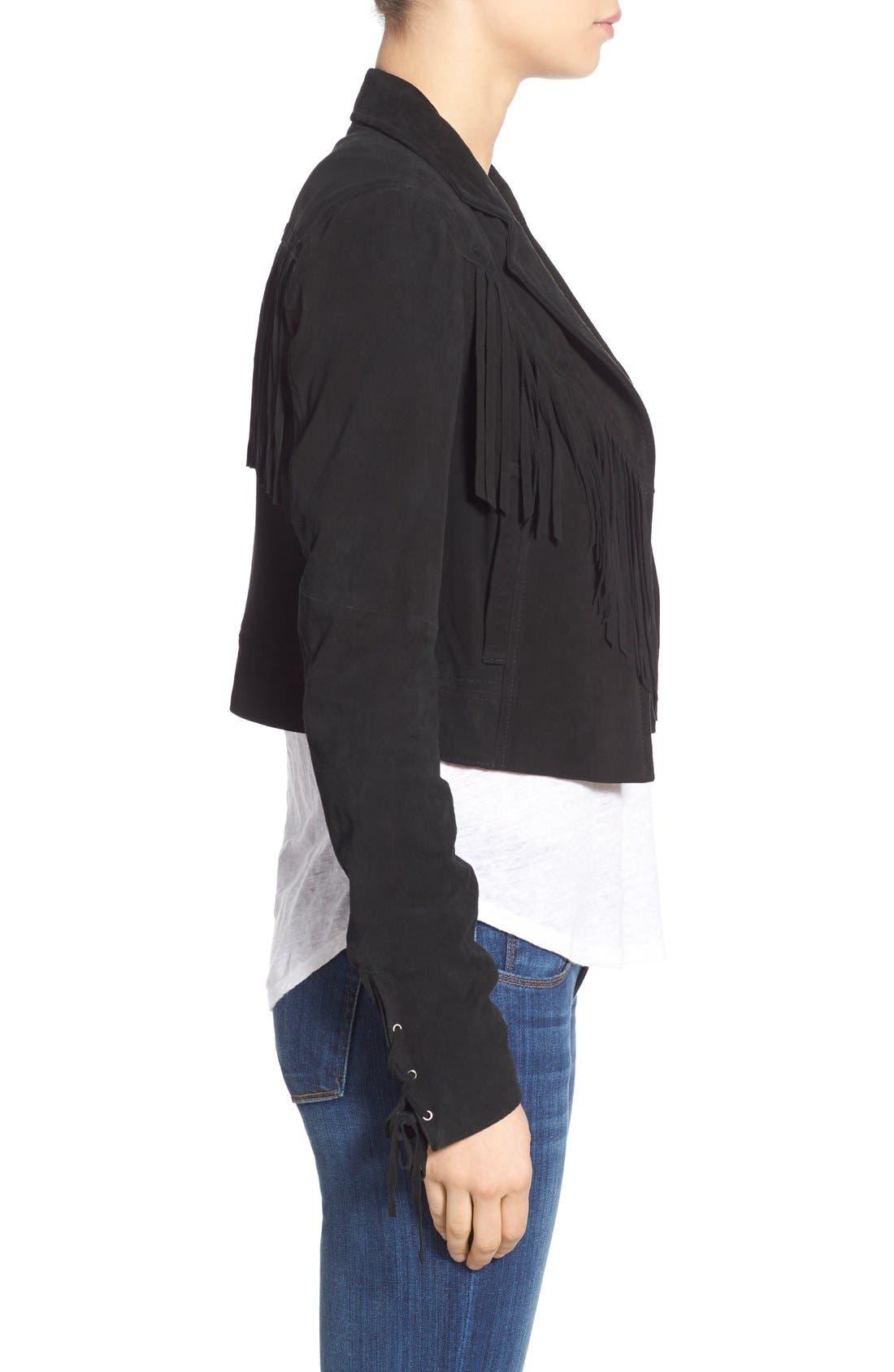 'Darlene' Suede Jacket,                             Alternate thumbnail 3, color,                             Black
