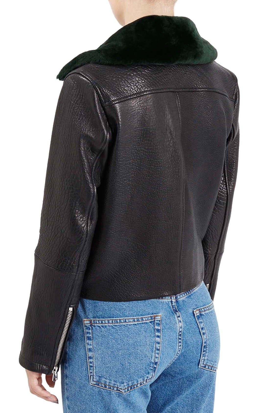 Alternate Image 3  - Topshop Boutique Leather Moto Jacket with Shearling Collar