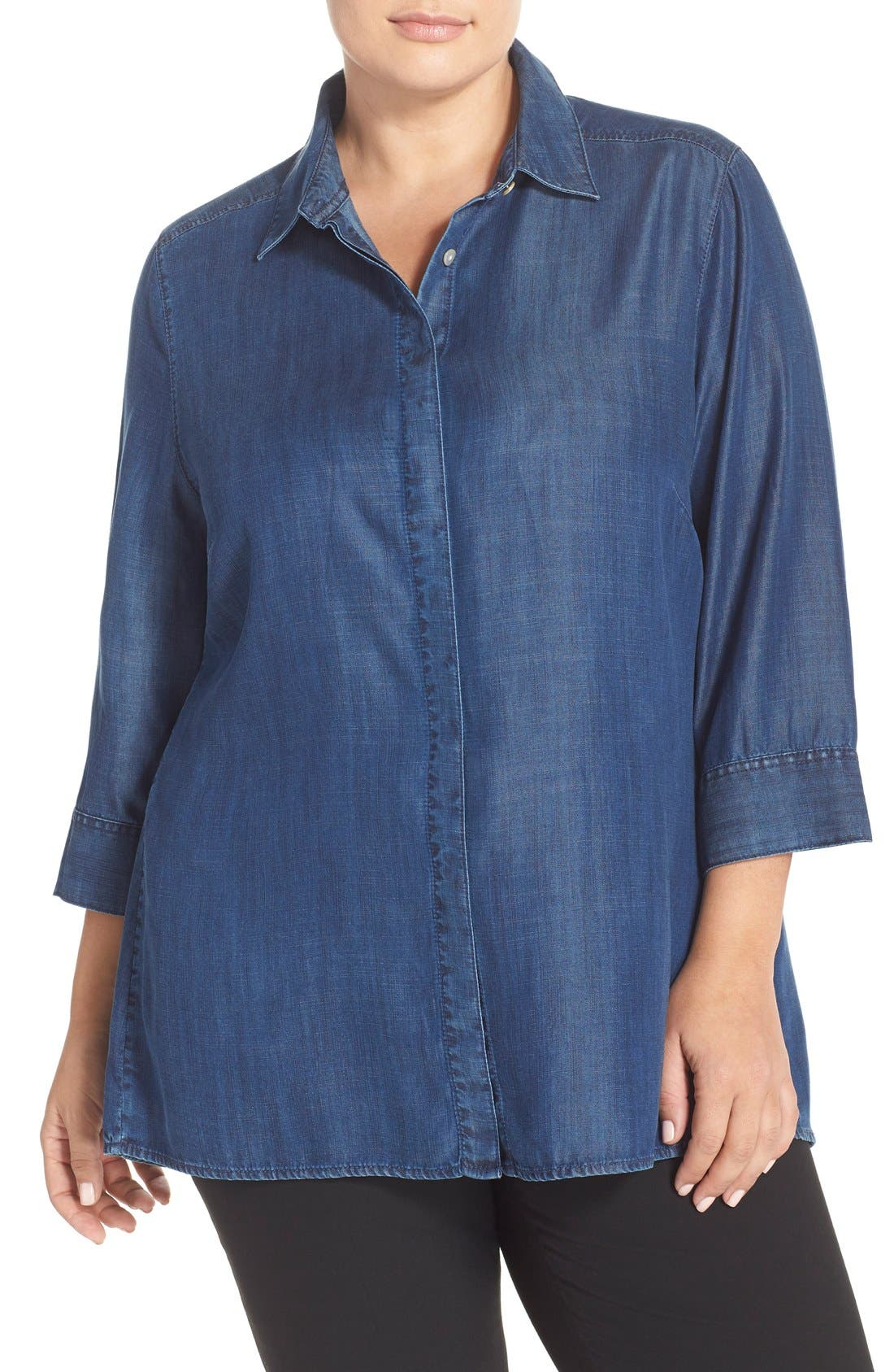 Foxcroft Tencel® Denim Tunic Shirt (Plus Size)