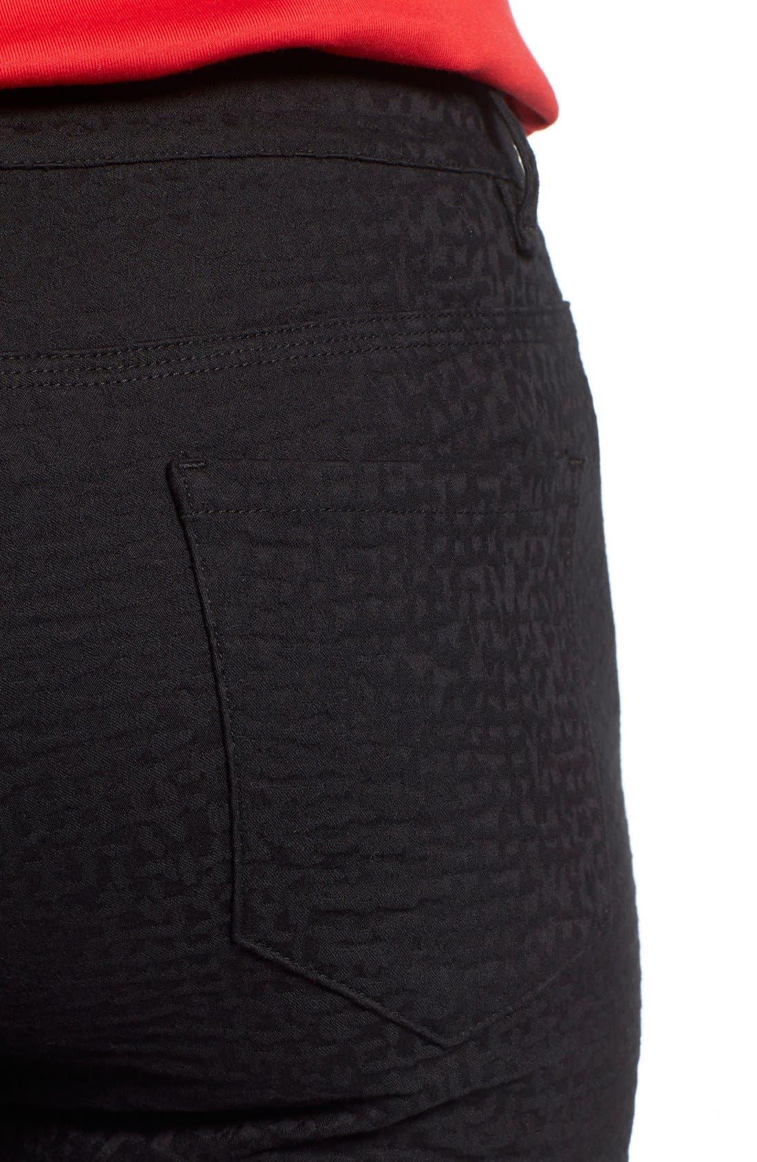 Alternate Image 4  - Lafayette 148 New York Curvy Fit Jacquard Stretch Slim Leg Jeans (Black) (Regular & Petite)
