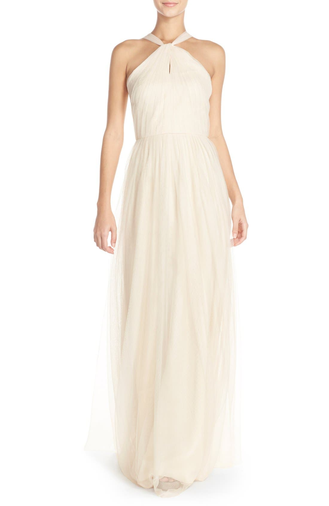 Main Image - Donna Morgan 'Ava' Halter Style Mesh A-Line Gown