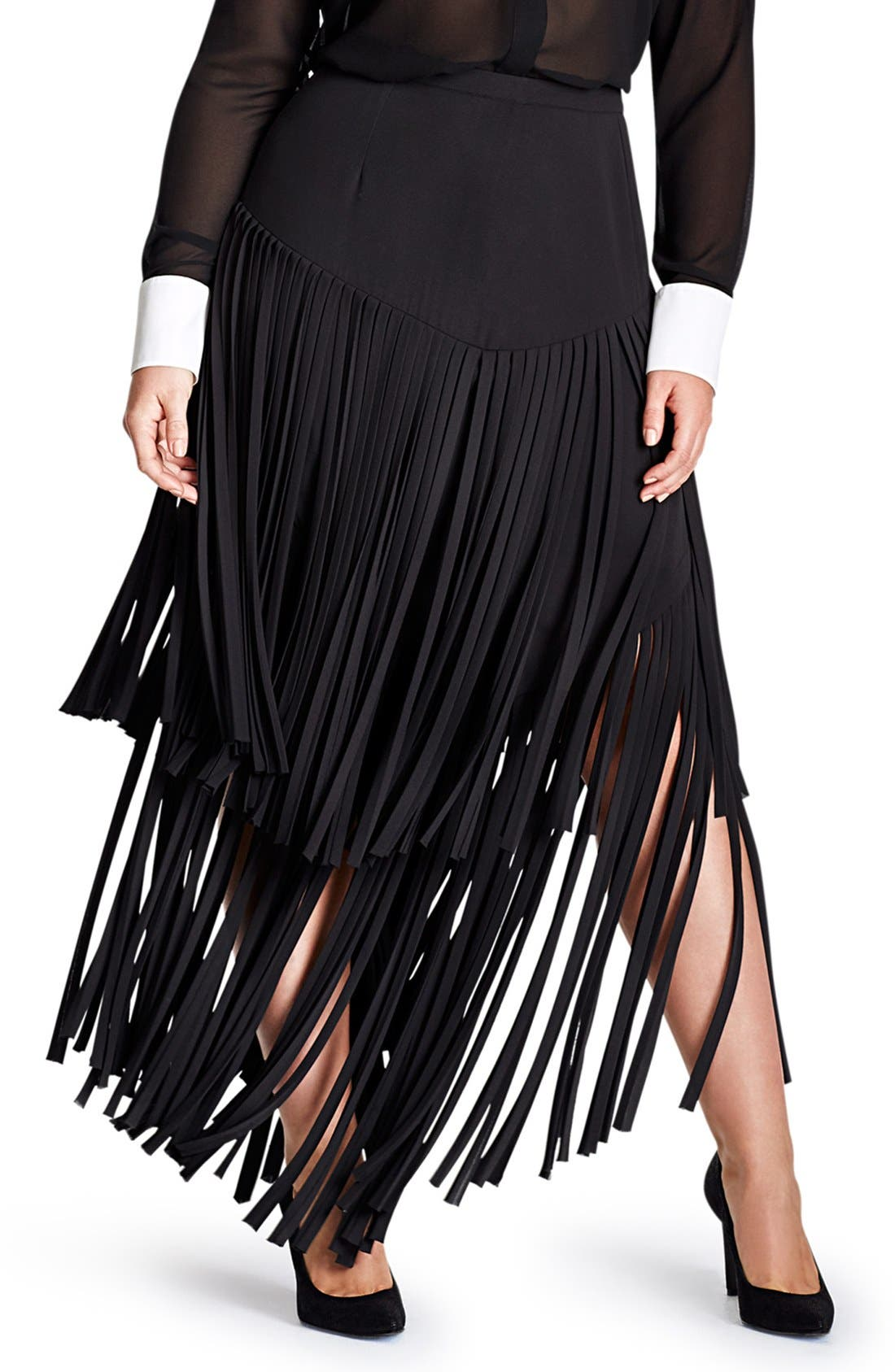 Alternate Image 1 Selected - Mynt 1792 Fringe Maxi Skirt (Plus Size)