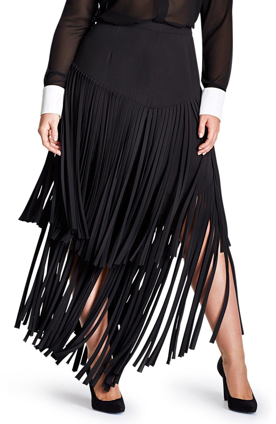 Fringe Maxi Skirt,                         Main,                         color, Black