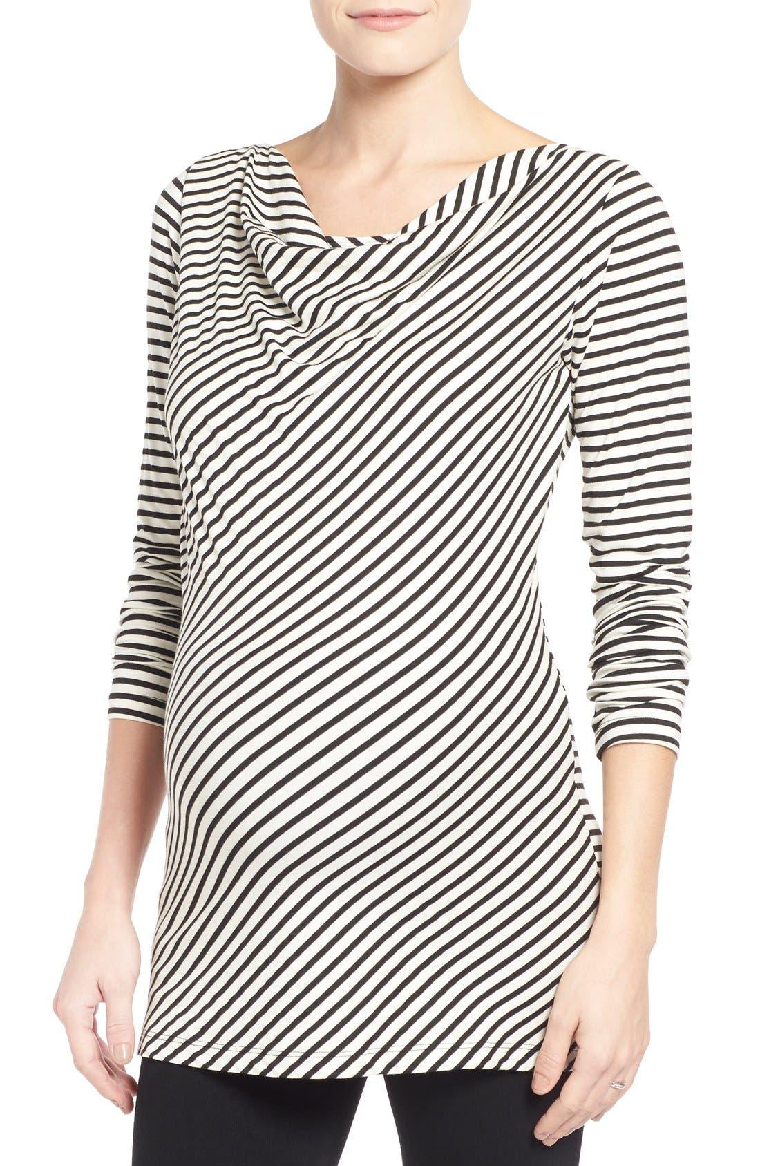 'Anne' Drape Neck Nursing Top,                         Main,                         color, Black/ White Stripe