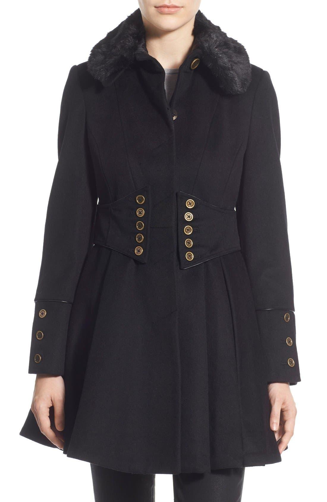Alternate Image 1 Selected - Betsey Johnson Faux Fur Collar Skirted Wool Blend Coat