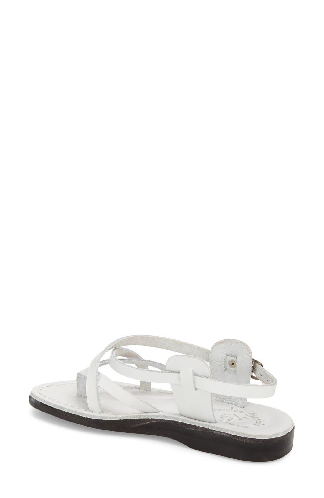'Tamar' Strappy Sandal,                             Alternate thumbnail 2, color,                             White Leather