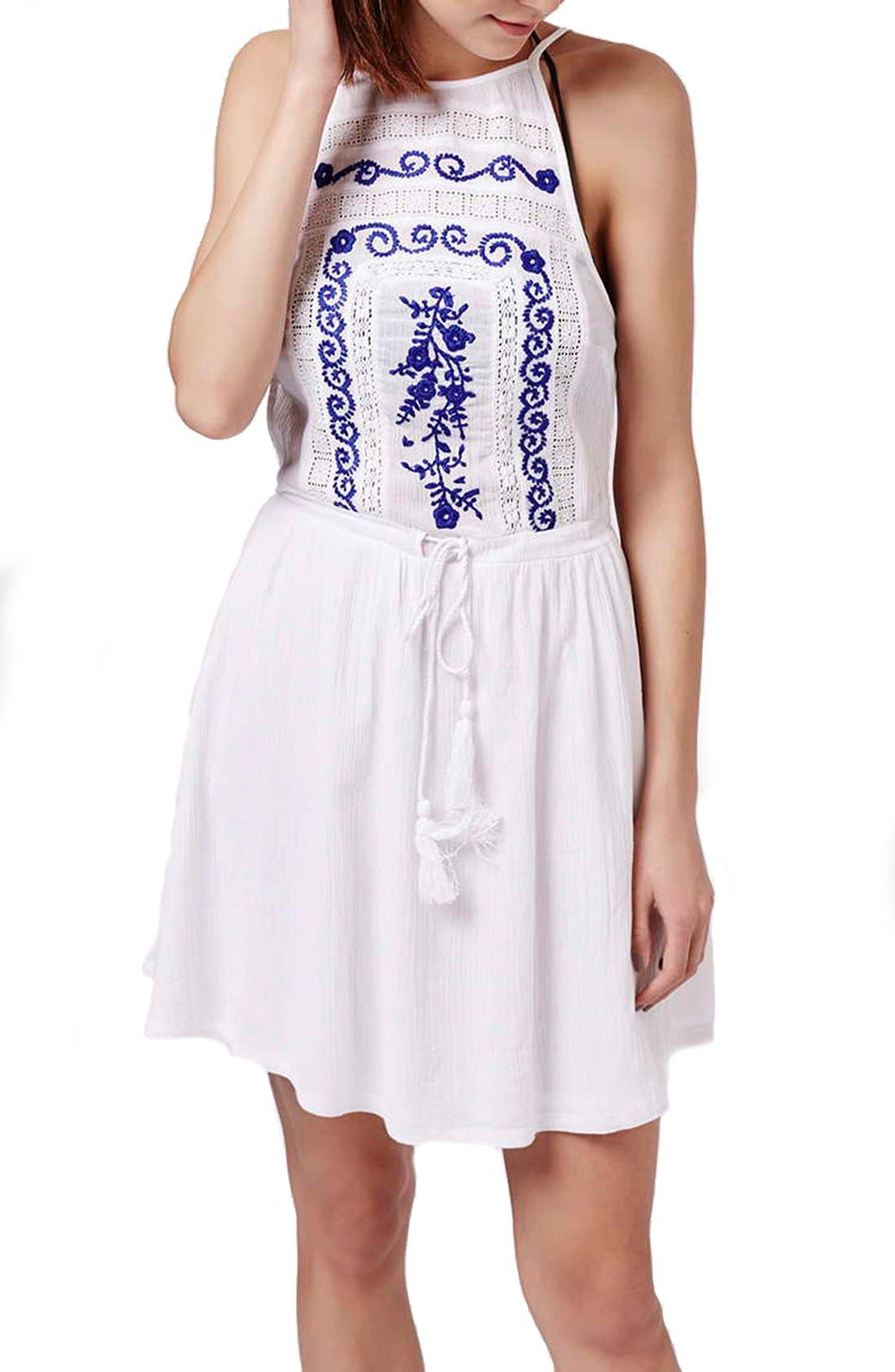 Alternate Image 3  - Topshop 'Claud' Embroidered Sleeveless Sundress Cover-Up