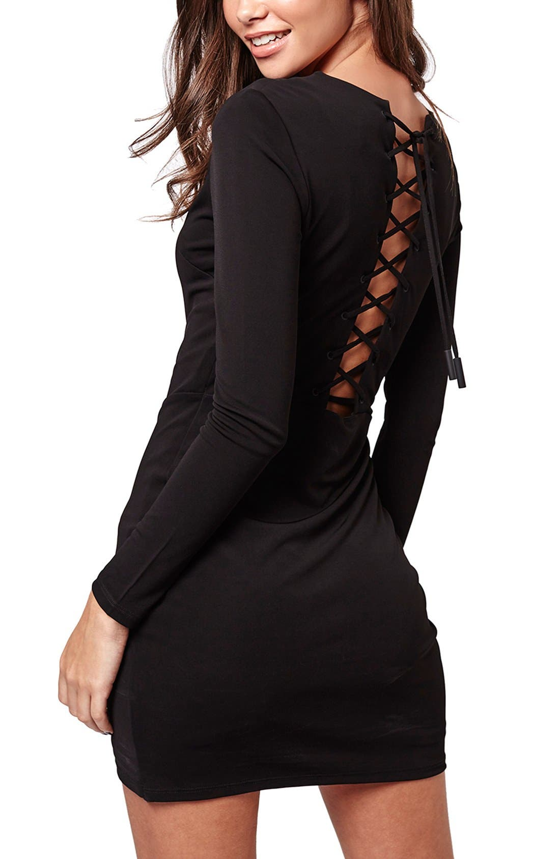 Alternate Image 3  - KENDALL + KYLIE at Topshop Plunge Lace-Up Minidress