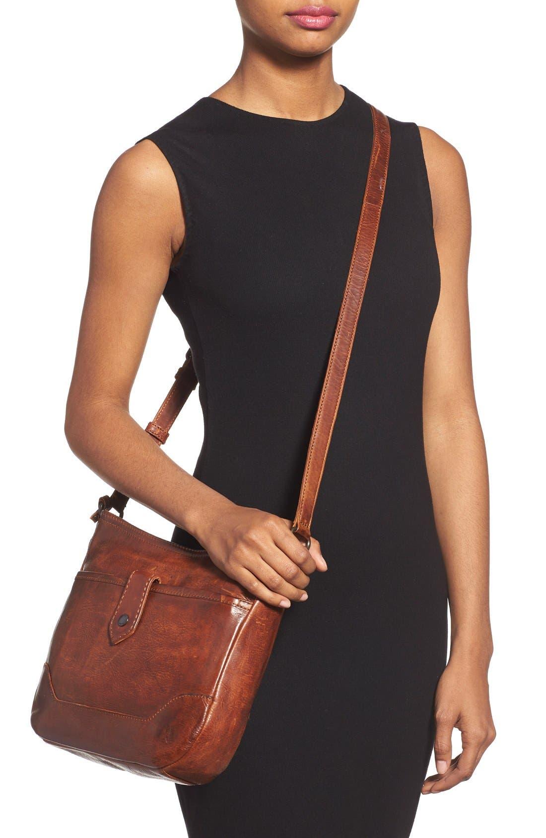 Melissa Button Crossbody Bag,                             Alternate thumbnail 2, color,                             Cognac