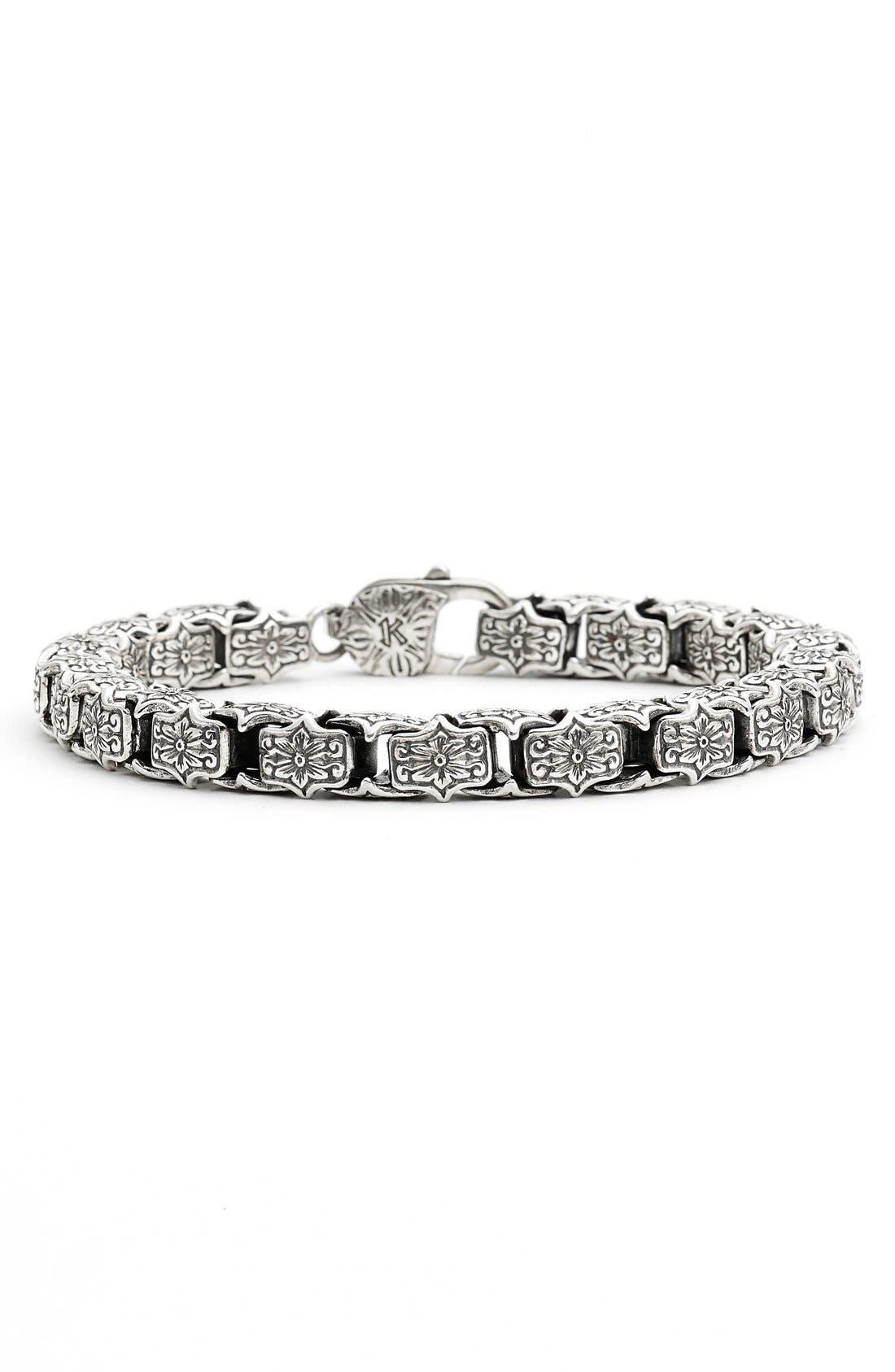 'Minos' Etched Medium Link Bracelet,                         Main,                         color, Silver